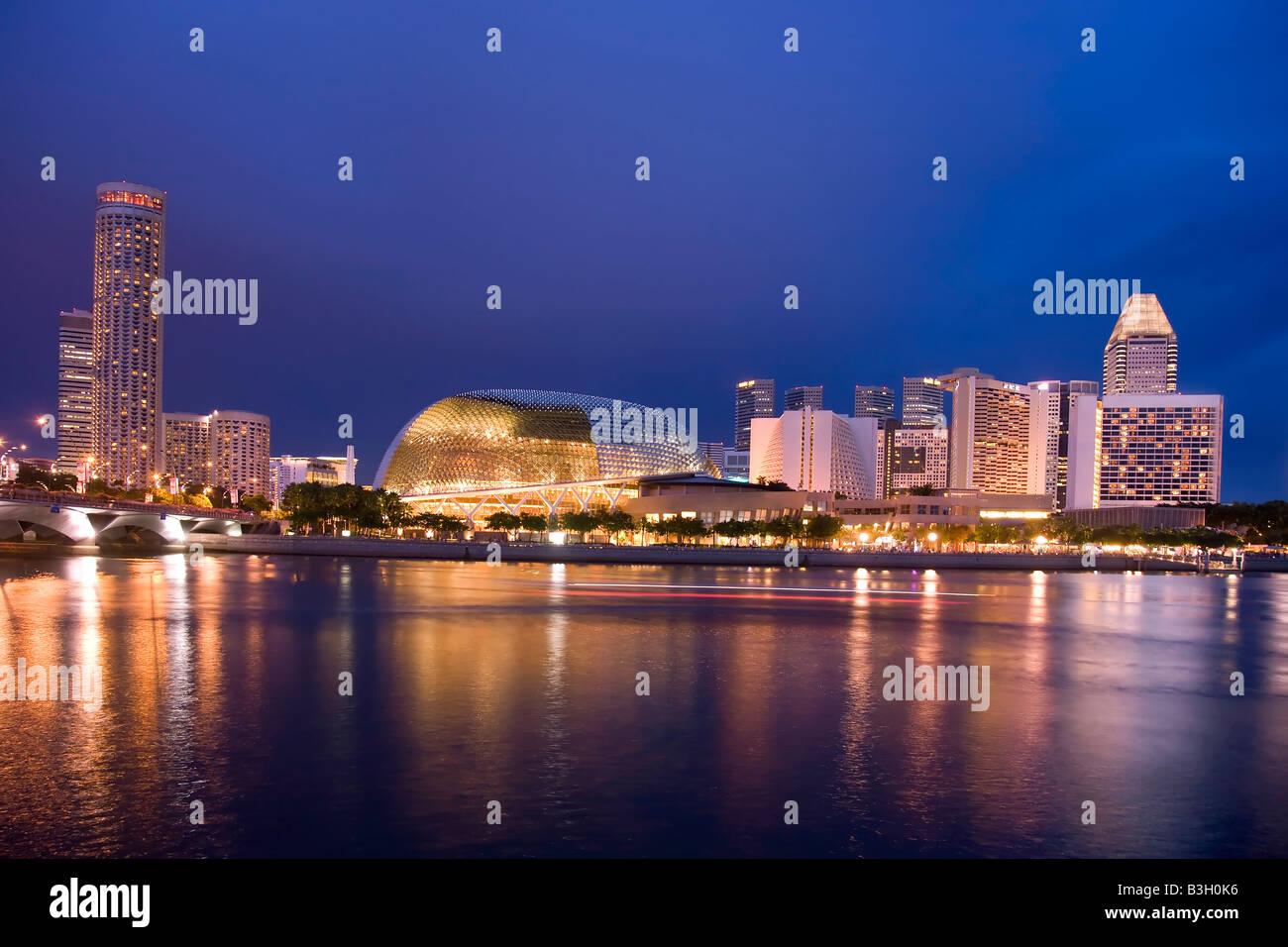 Singapore Skyline at Night - Stock Image