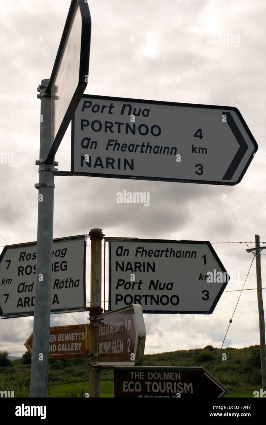 Ardara County Donegal Ireland Road signs give conflicting distance advice to motorists - Stock Image