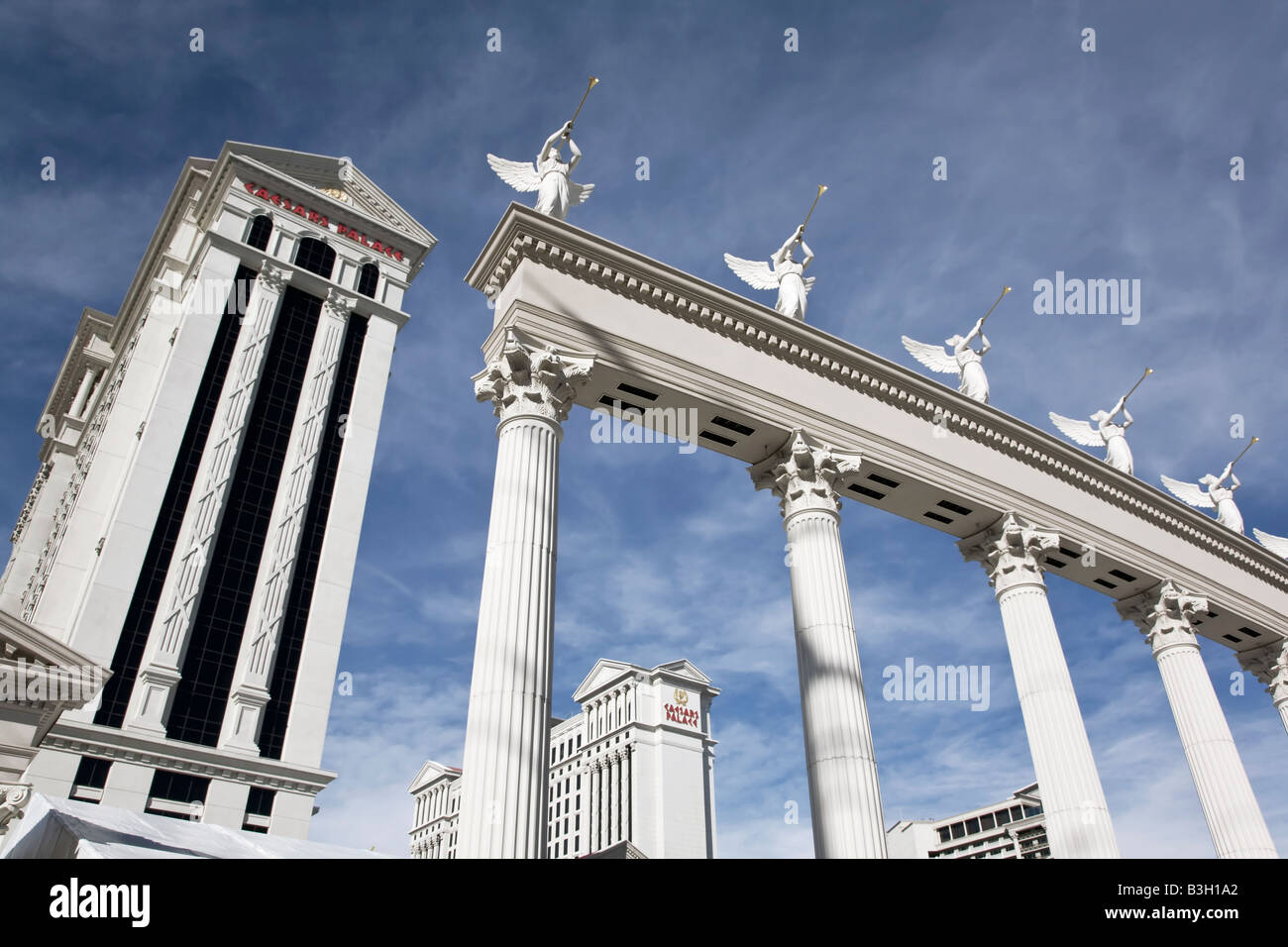 The entrance gate to Caesars Palace in Las Vegas Stock Photo
