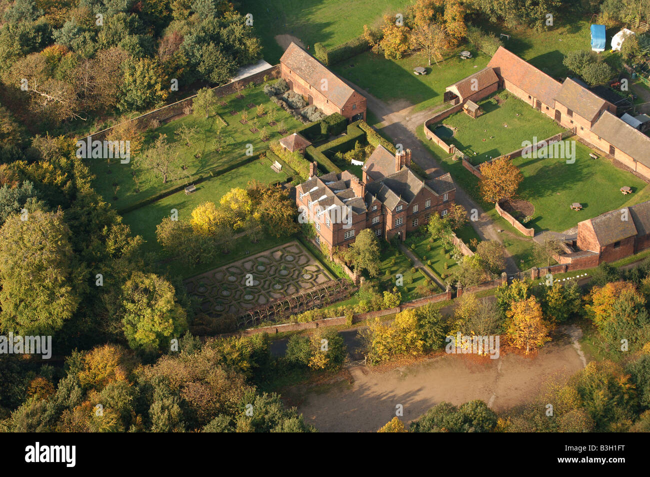 An aerial view of Moseley Old Hall near Wolverhampton Stock Photo