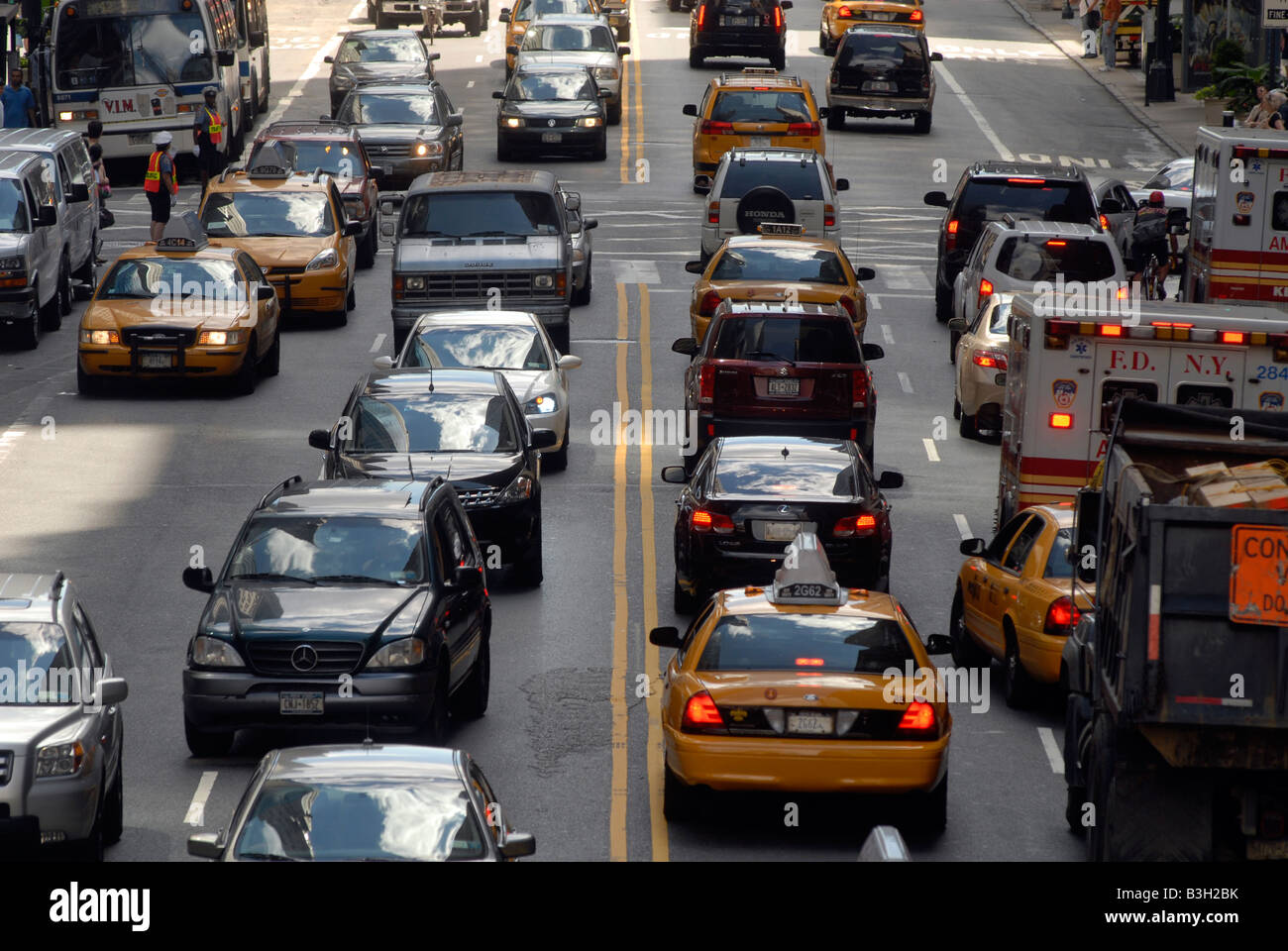 Traffic on East 42nd Street in New York on Saturday August 23 2008 Richard B Levine - Stock Image