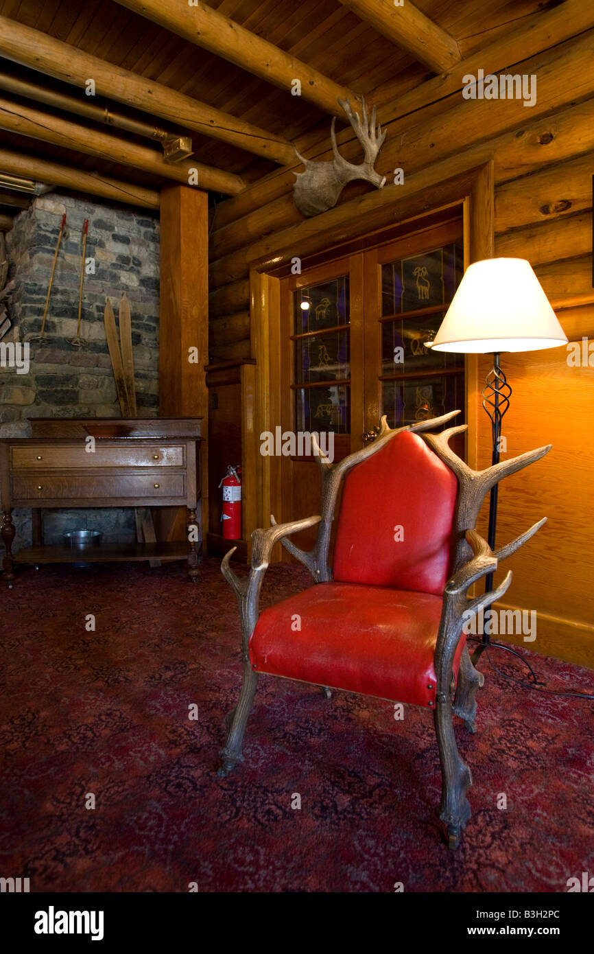 Inside the Num Ti Jah Lodge in Banff National Park - Stock Image
