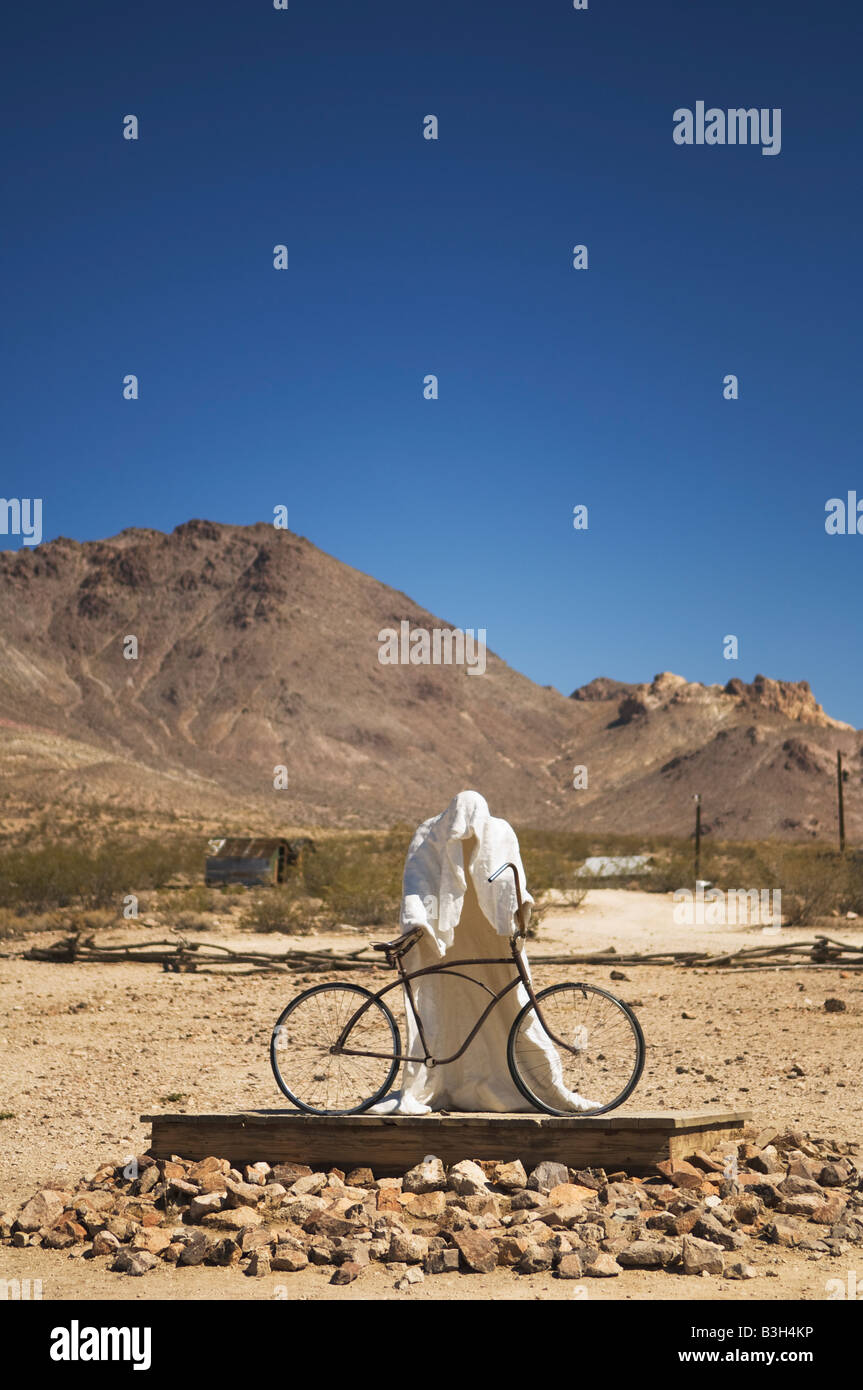 Sculpture 'Ghost Rider' 1984 by Charles Albert Szukalski at the Goldwell Open Air Museum in Rhyolite, Nevada, - Stock Image
