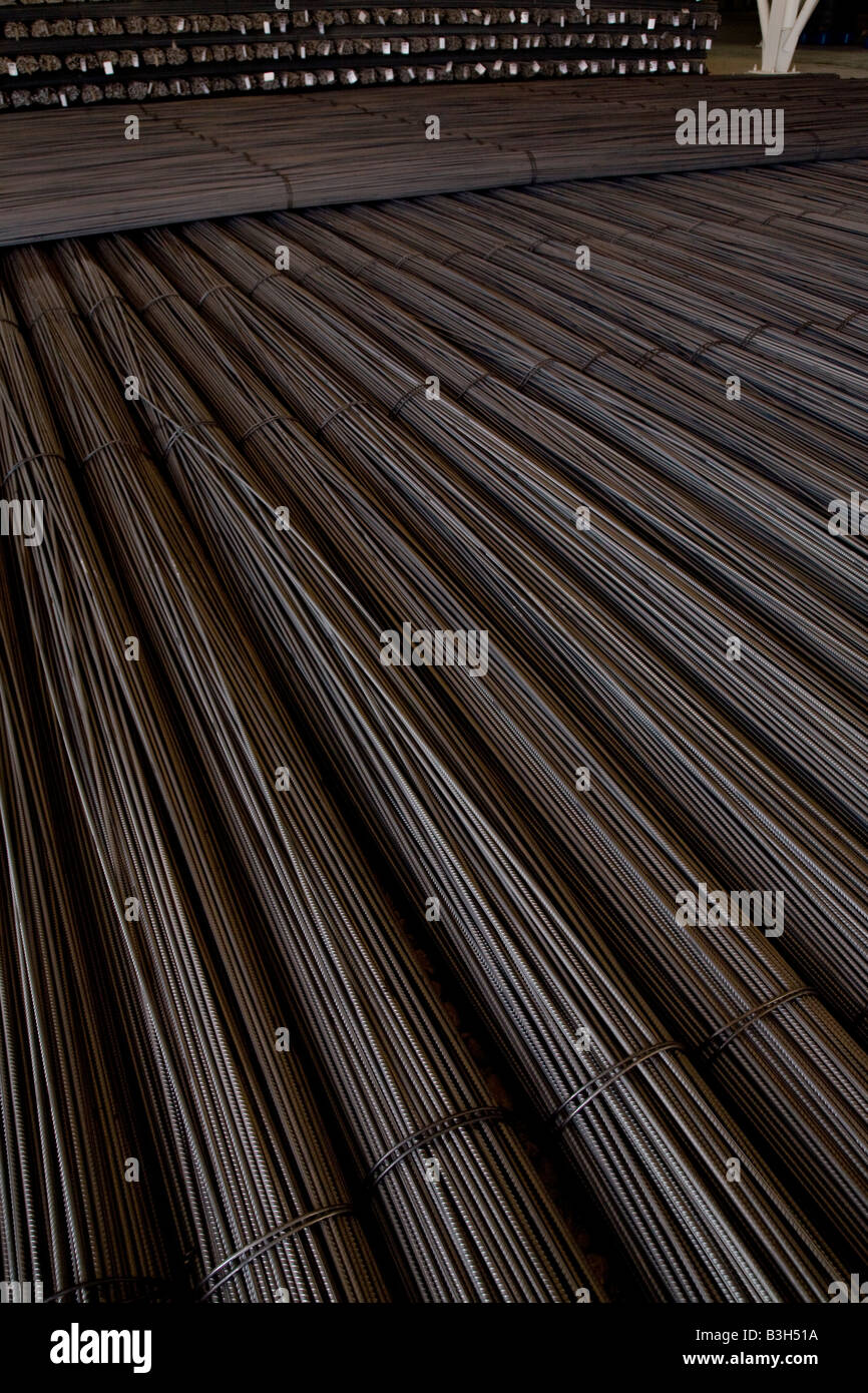 Stacked steel rebar rods at EISF Steel Factory Mill Abu