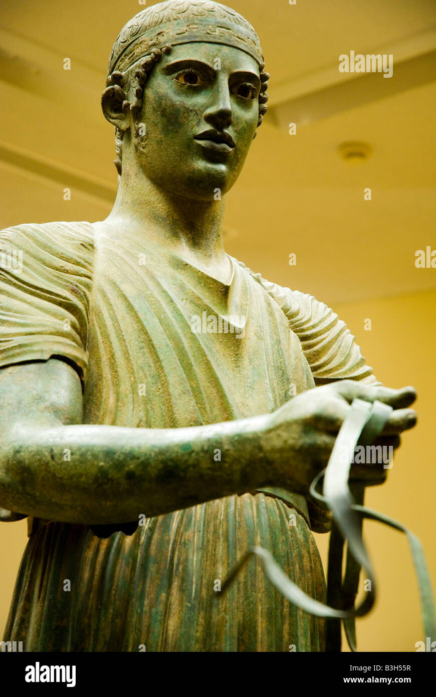 The Charioteer of Delphi, in the Delphi Museum - Stock Image
