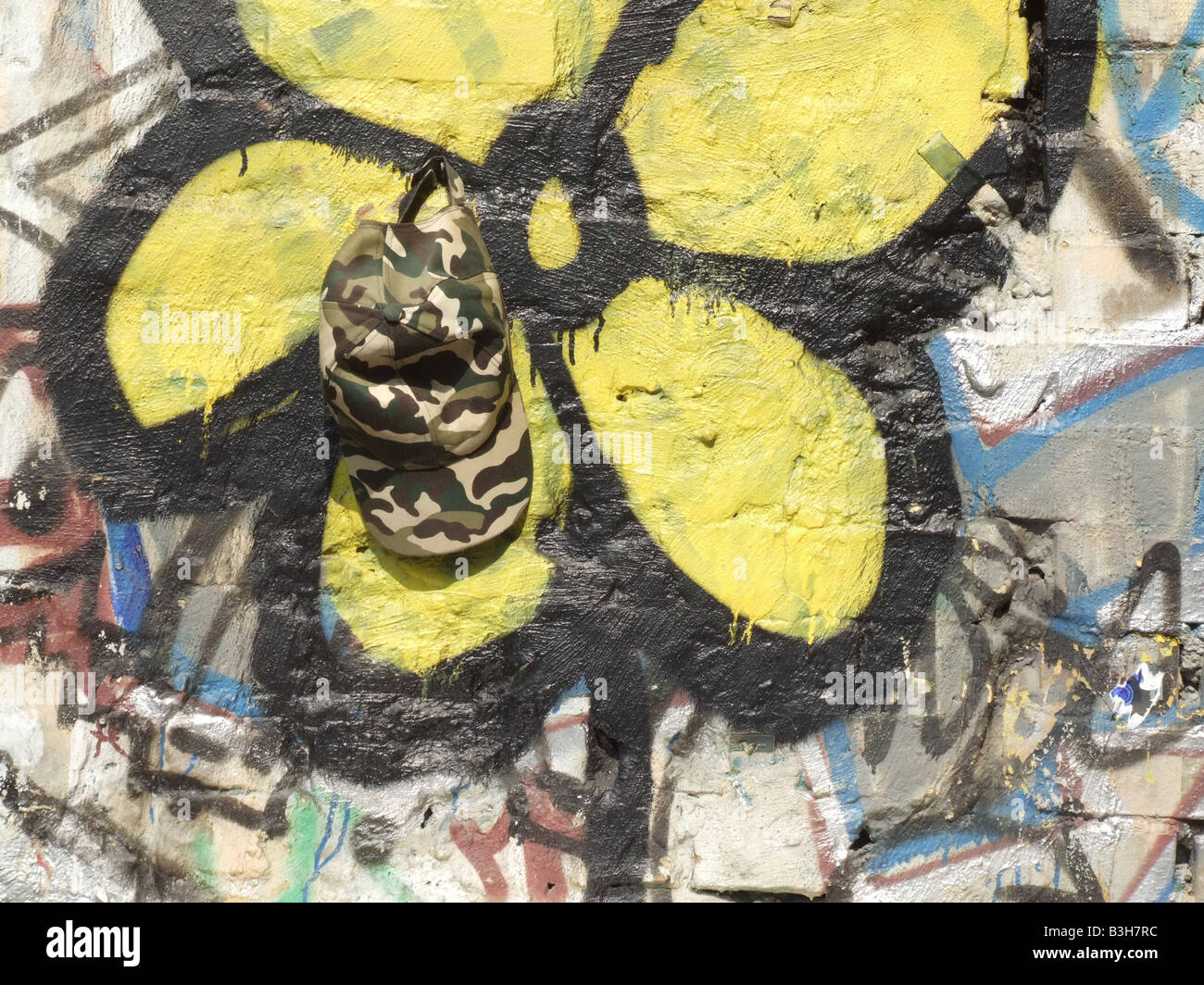 army cap and yellow flower graffiti on wall Stock Photo: 19433664 ...