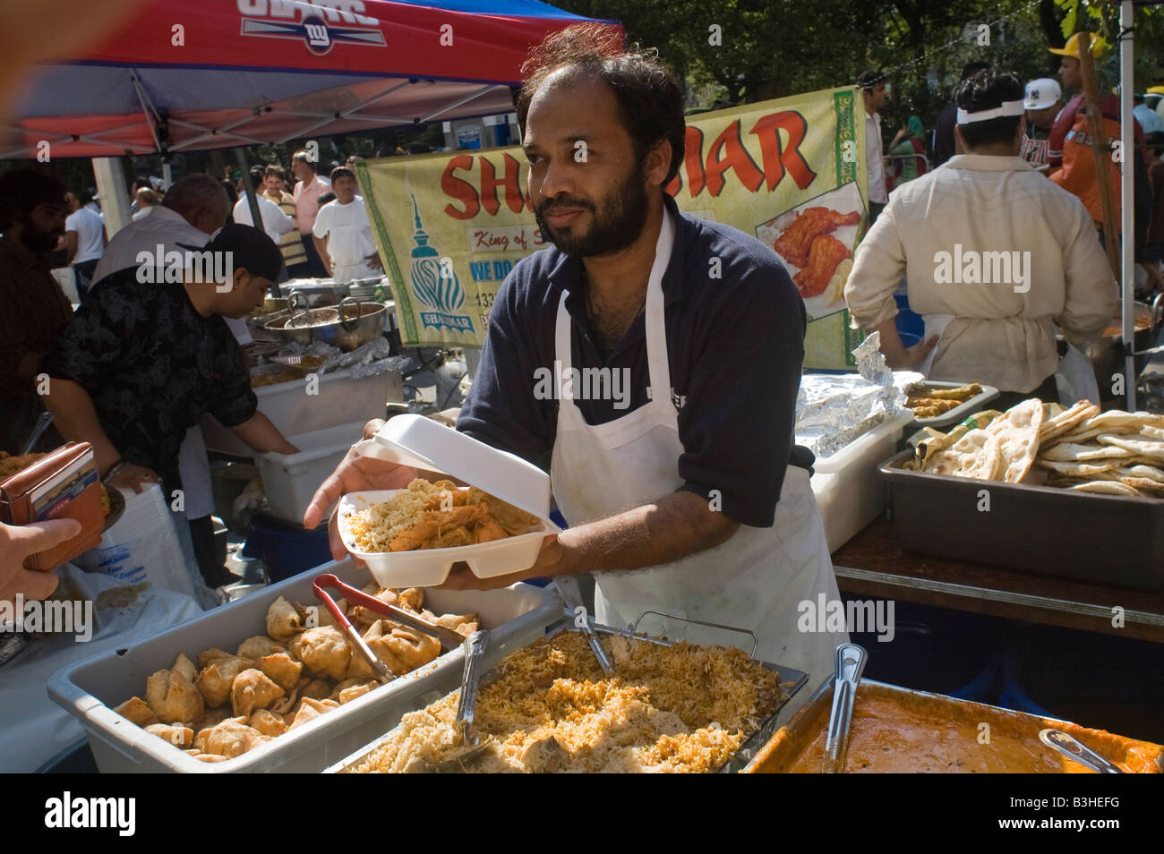 Pakistani Americans gather near Madison Square Park in New York - Stock Image