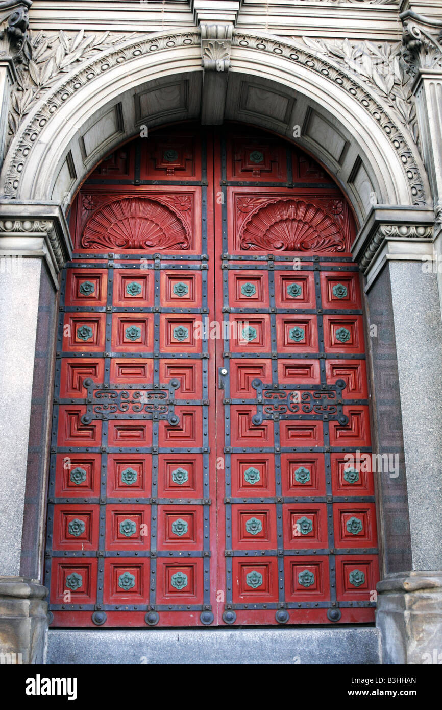 Intricate Red Door To Hockey Hall Of Fame In Toronto Canada Stock