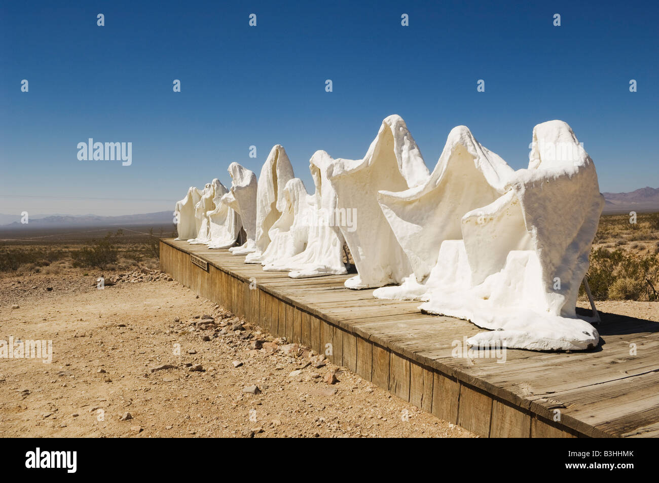 Sculpture 'The Last Supper' 1984 by Charles Albert Szukalski at the Goldwell Open Air Museum in Rhyolite, - Stock Image