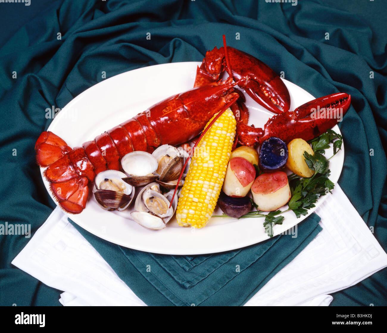 Seafood Lobster Clams Corn on Cob Potato Dinner Plate Platter Christmas Ornament