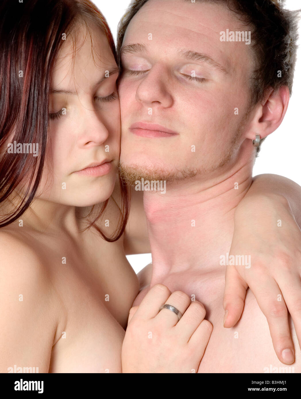 young couple tenderly - Stock Image