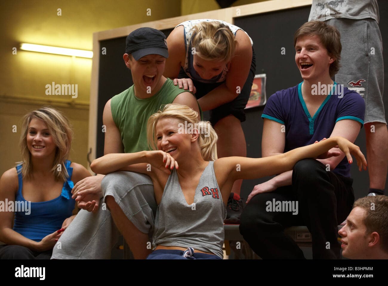 Cast members of High School Musical rehearse their song and dance routines at the Dance Attic, Fulham, London Stock Photo