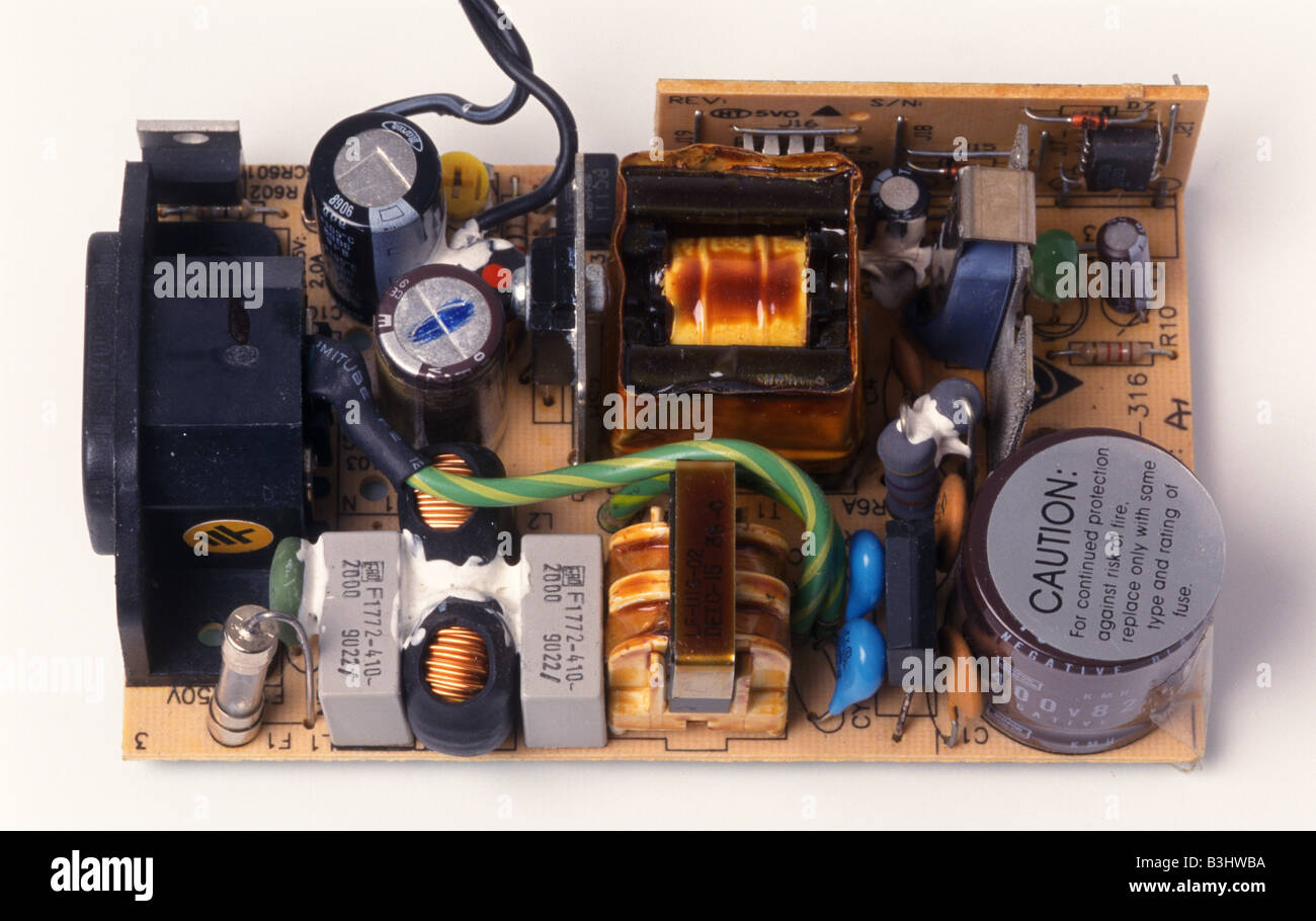 inside a typical small electrical power supply Stock Photo