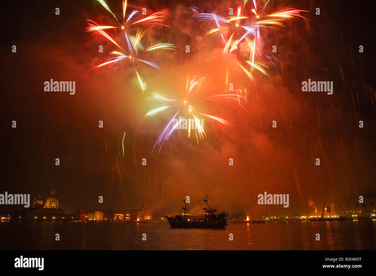 Firework display in the bay of Venice, Italy Stock Photo