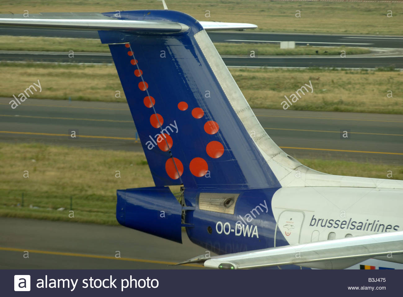 Brussels Airport Zaventem. Belgium. Brussels Airlines Bae 146 tail and insignia. - Stock Image