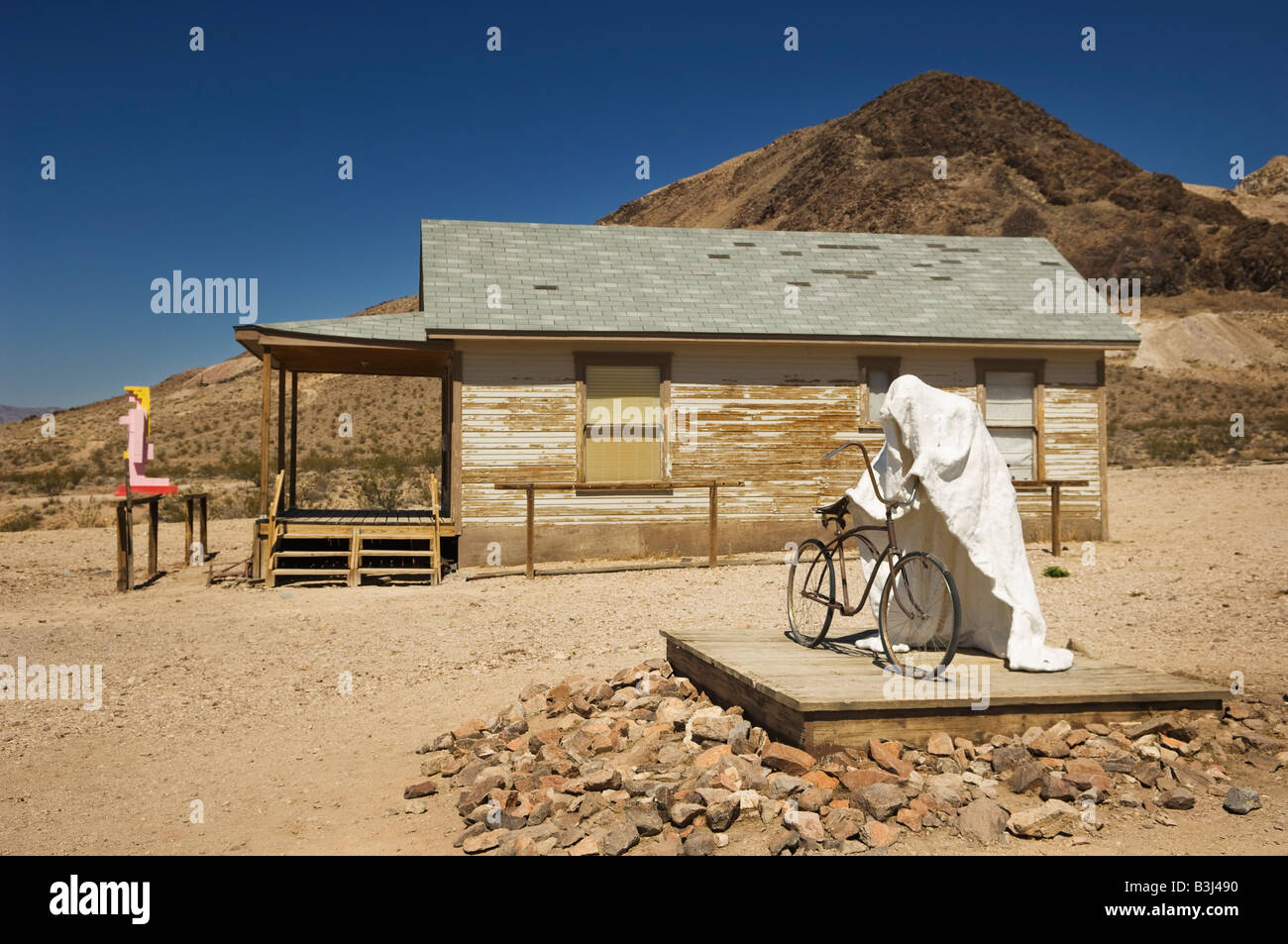 Sculpture 'Ghost Rider' 1984 by Charles Albert Szukalski, at the Goldwell Open Air Museum in Rhyolite, Nevada, - Stock Image