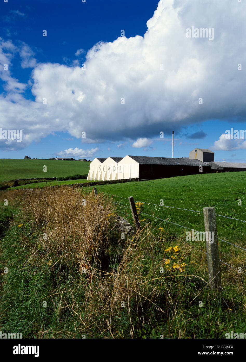 dh Allied Distillers SCAPA DISTILLERY ORKNEY Fence fields Lingro farm  Distillery whisky scottish countryside scotland Stock Photo