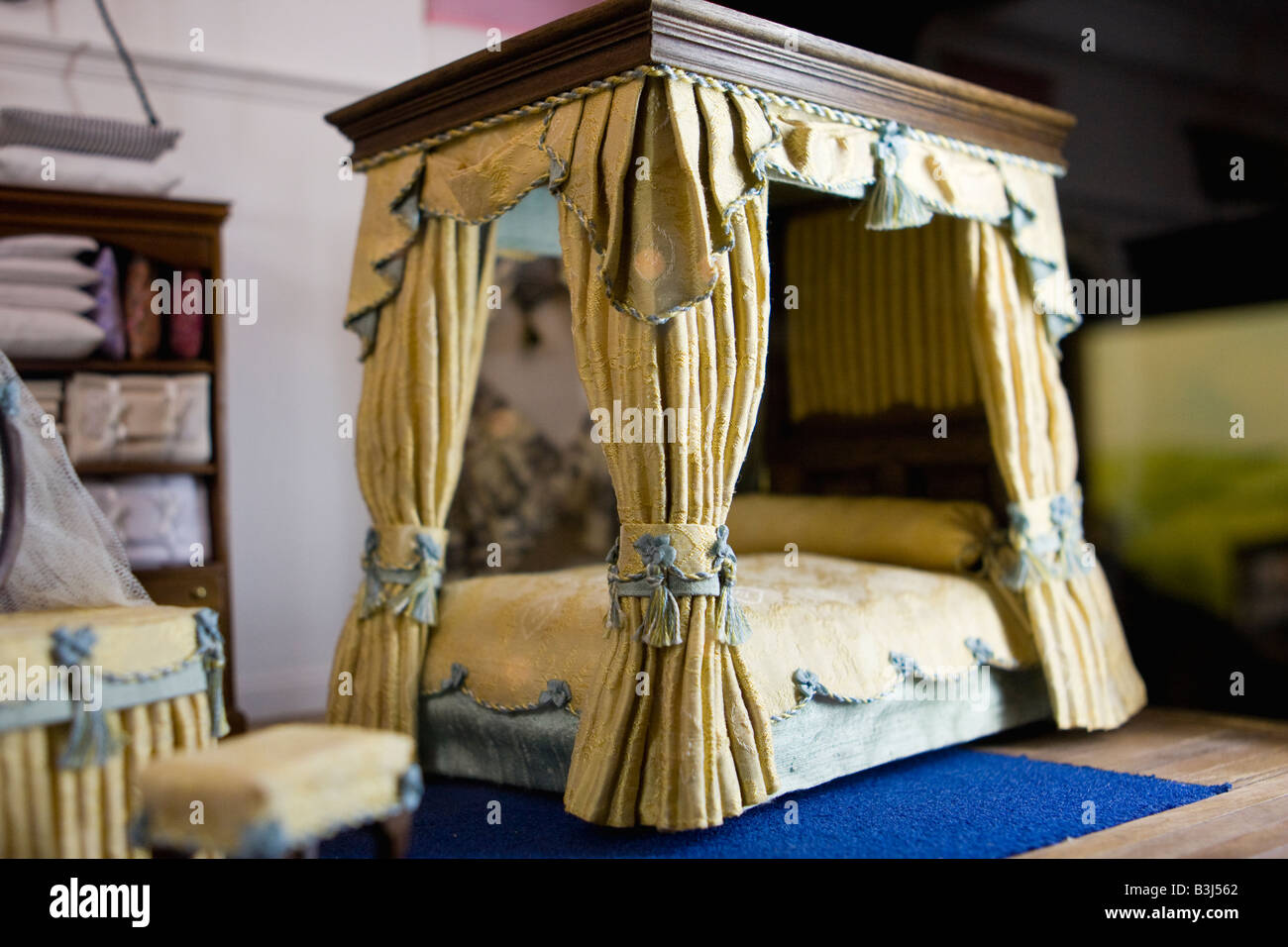 Miniature scene from Doll s House collection at Leonardslee Gardens Sussex England - Stock Image