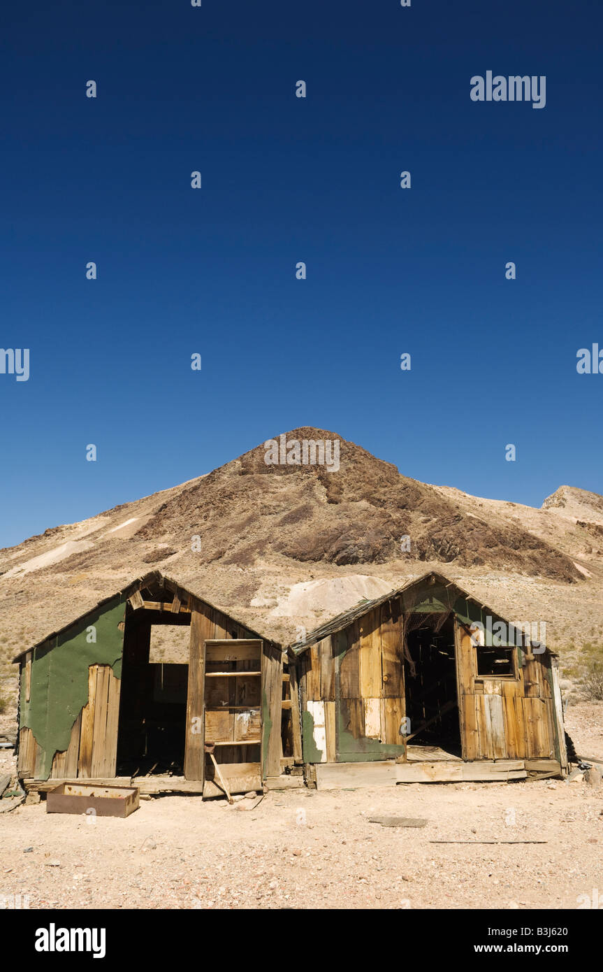 Two derelict sheds in Rhyolite, Nevada, USA. - Stock Image