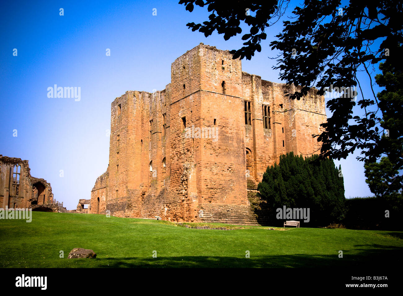 Kenilworth Castle on a summer's day. Photo shows the Keep - Stock Image