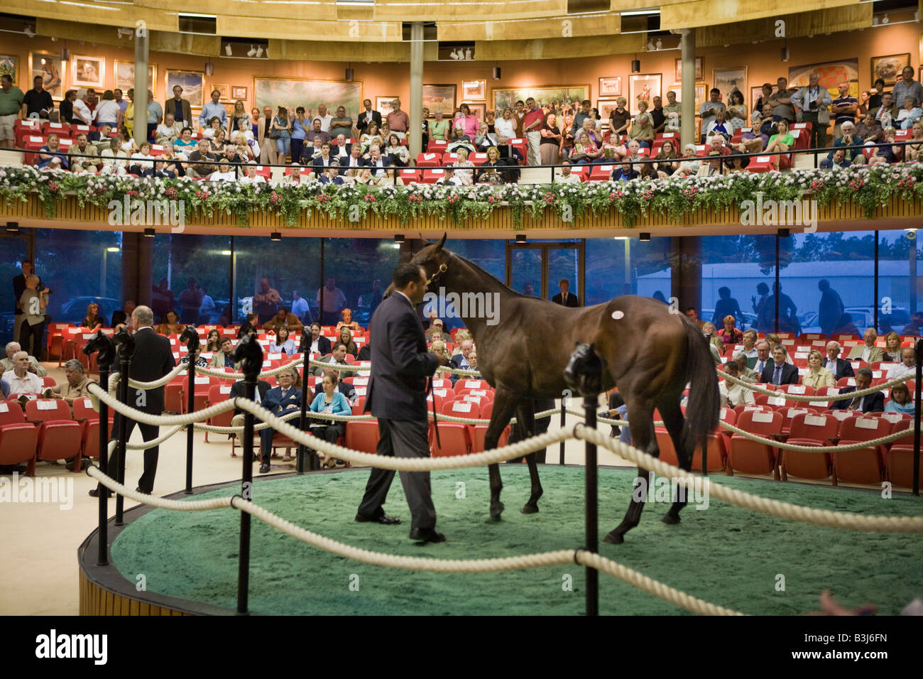 Inside the pavilion at annual Fasig Tipton thoroughbred horse auction Saratoga Springs New York - Stock Image