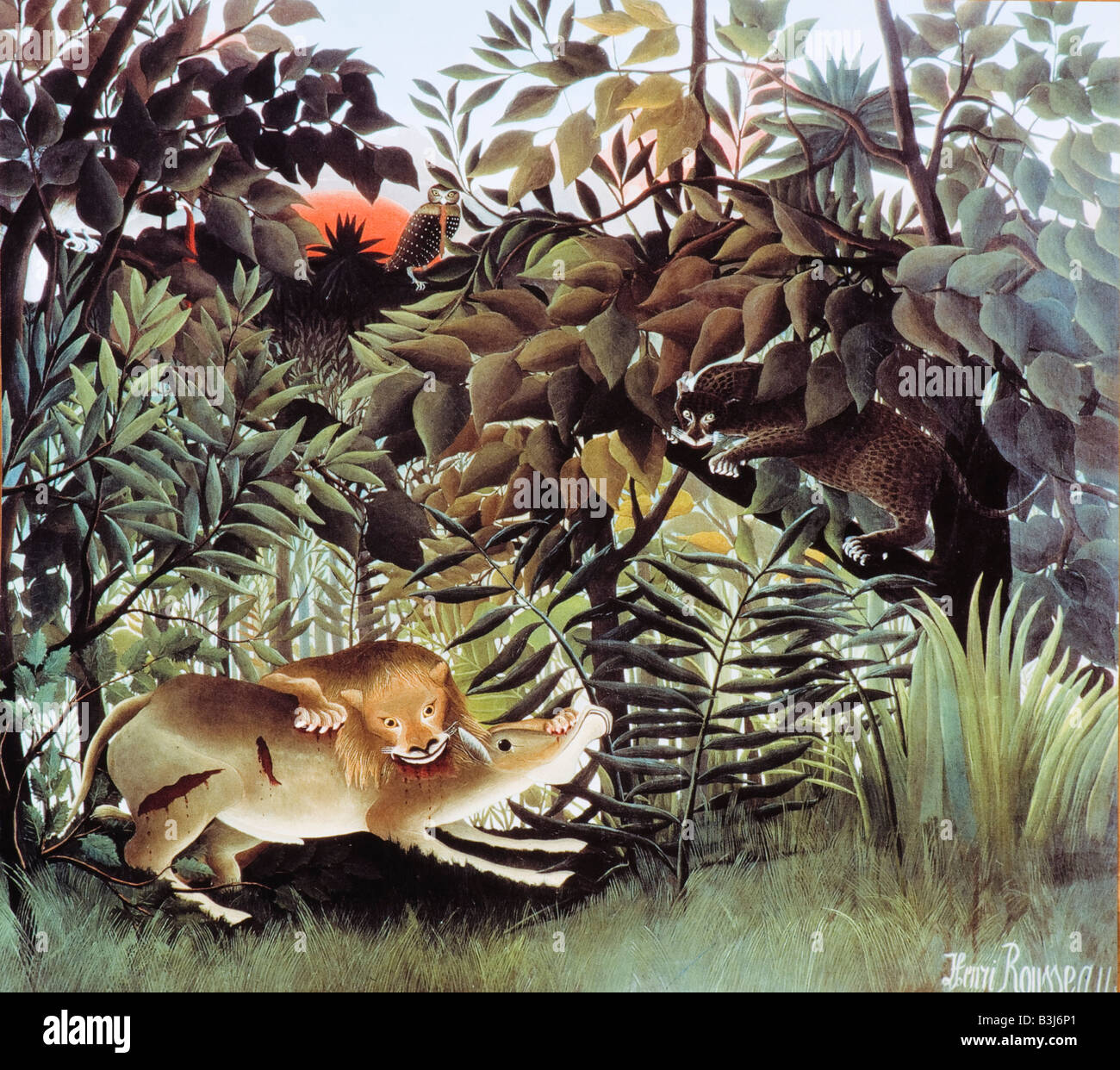 The Hungry Lion throws itself on the Antelope by Henri Rousseau 1905 - Stock Image