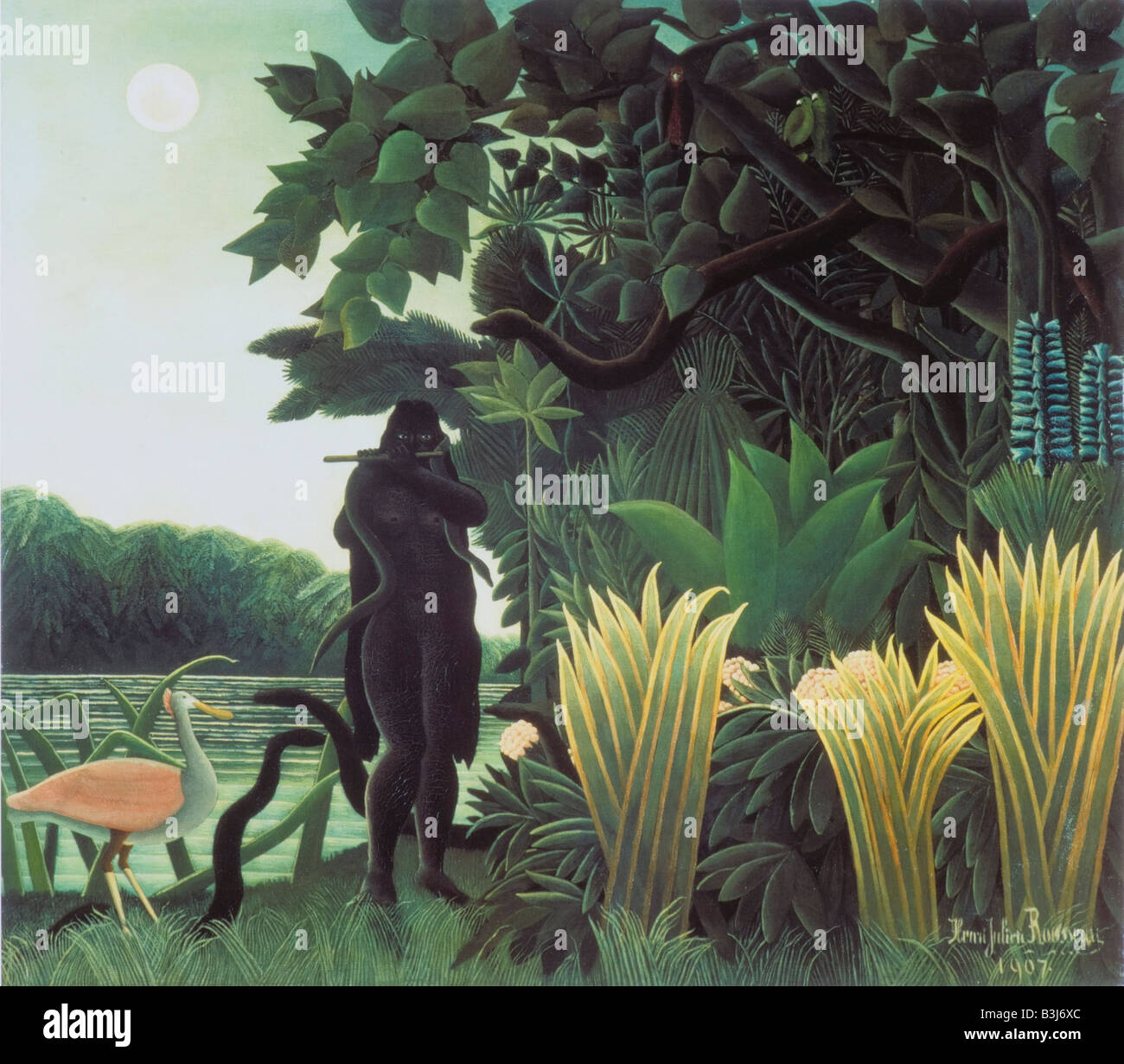 The Snake Charmer by Henri Rousseau 1907 - Stock Image