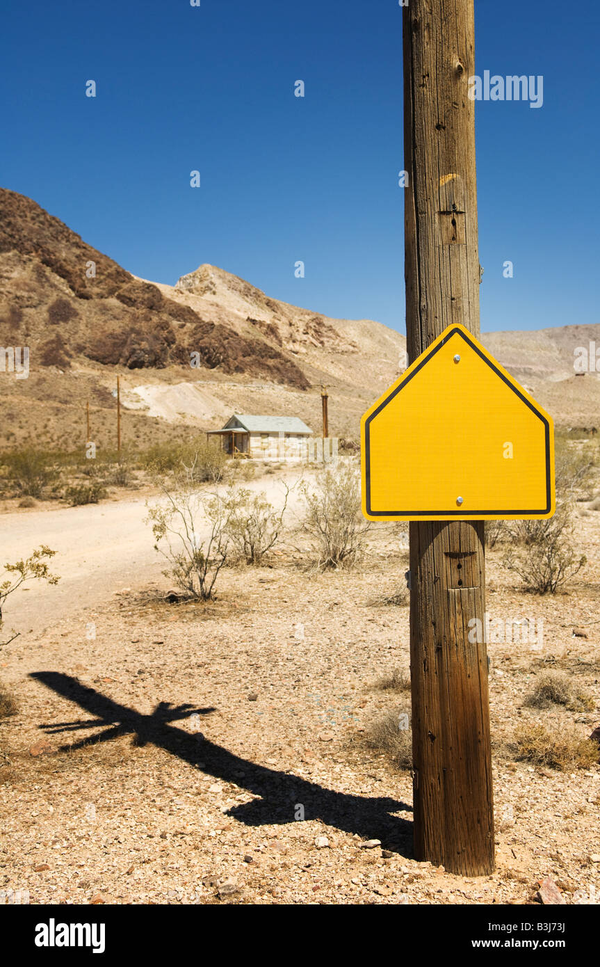 Blank sign, Goldwell Open Air Gallery in Rhyolite, Nevada, USA. - Stock Image