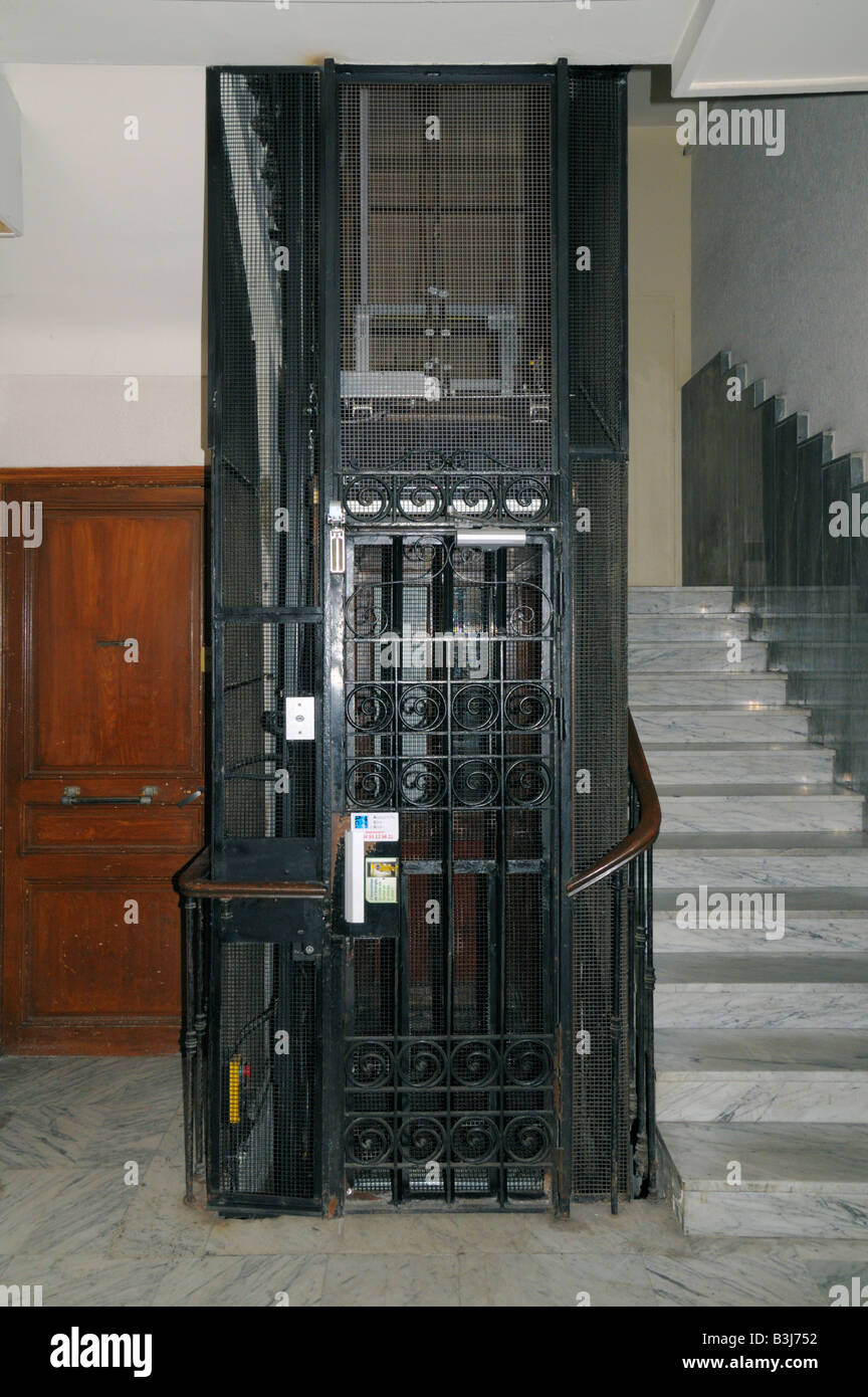 An Old Fashioned Elevator In An Apartment Building In Nice