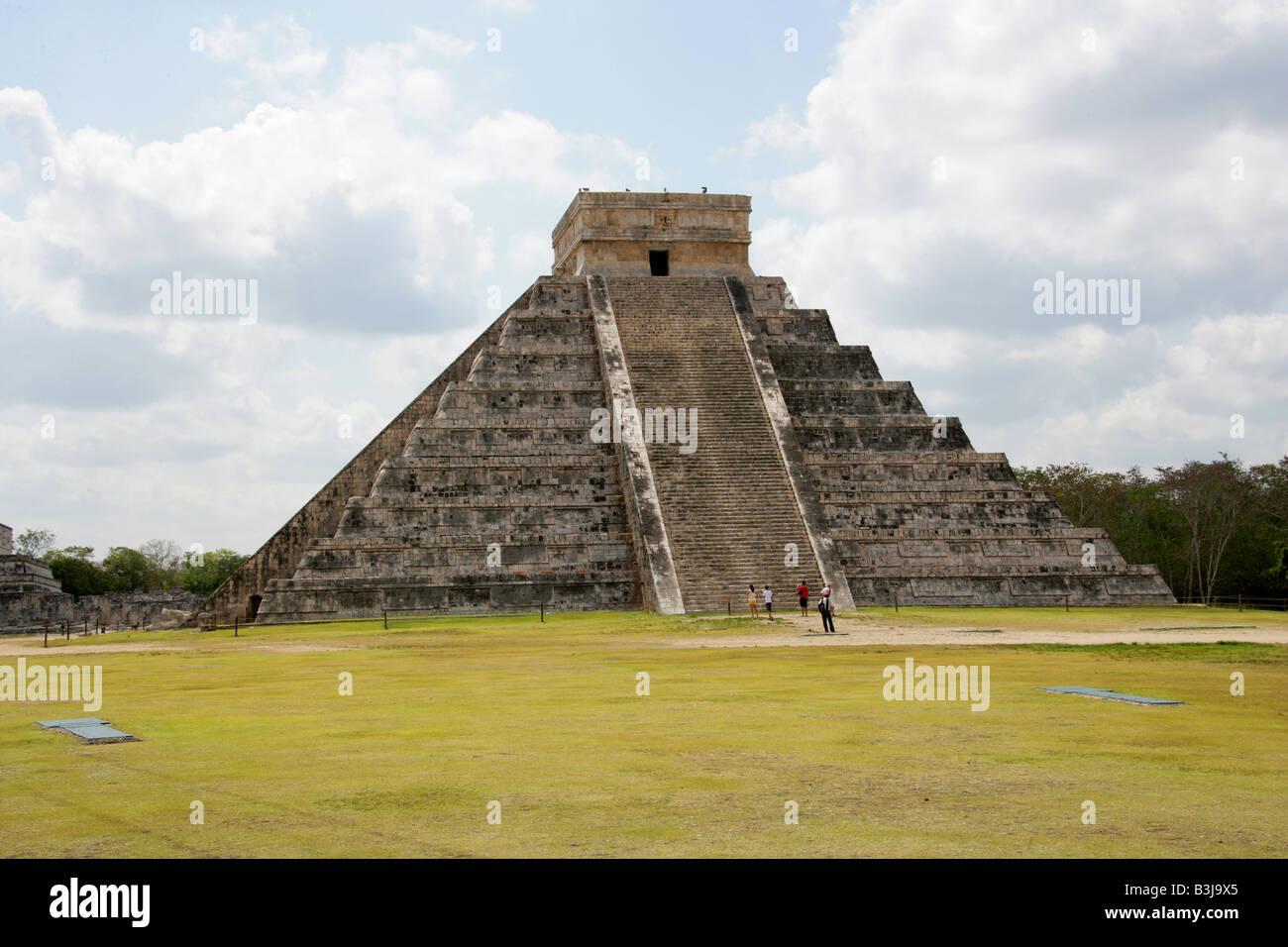 The Castle Pyramid (El Castillo Pyramid) or Temple of Kukulcan, Chichen Itza Archaeological Site, Chichen Itza, Stock Photo