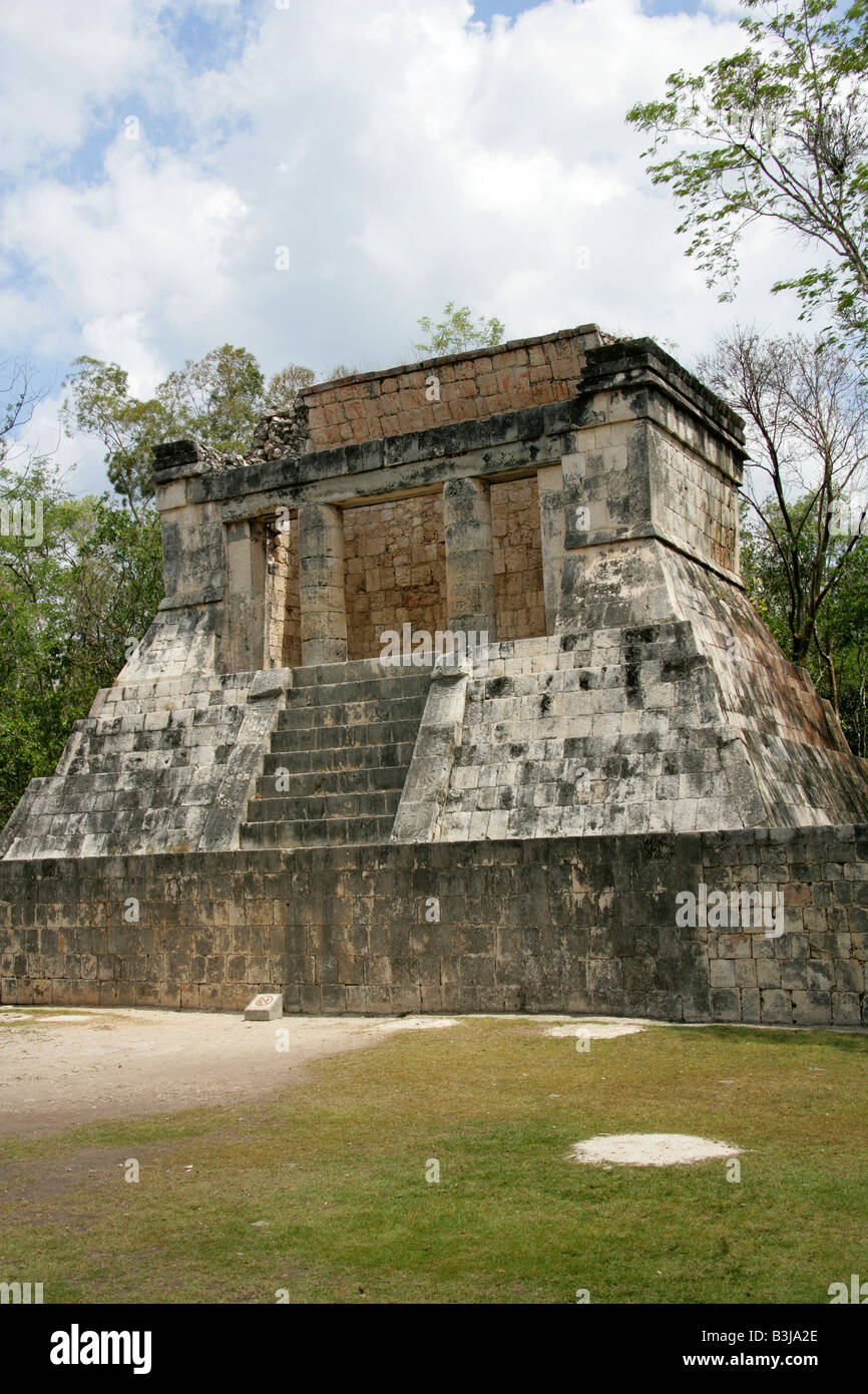 The North Temple aka the Temple of the Bearded Man at the End of the Great Ballcourt, Juego de Pelota, Chichen Itza, Stock Photo