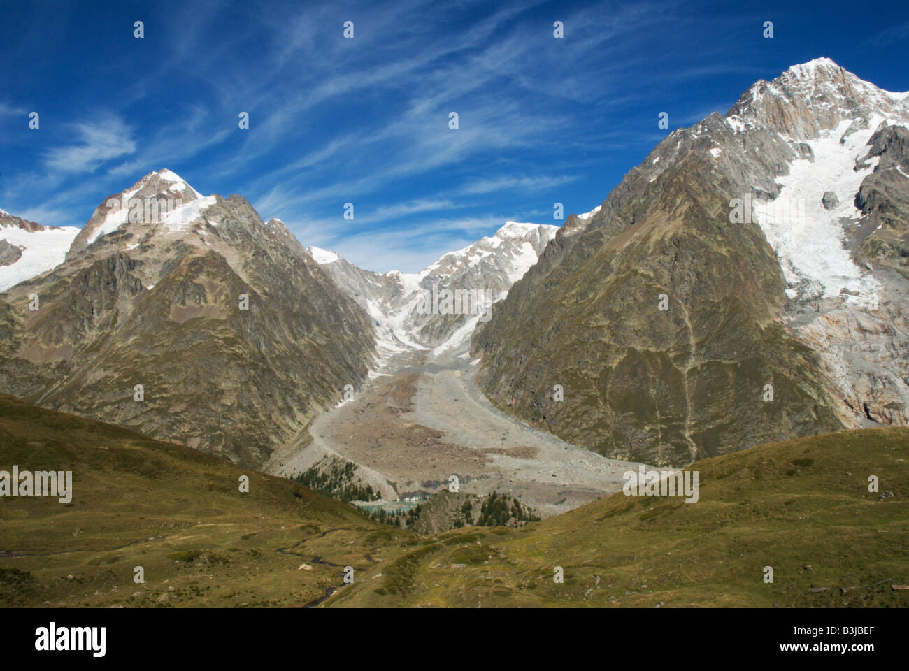 The Glacier du Miage, Mont Blanc Massif, above the Val Veny, Italian Alps. - Stock Image