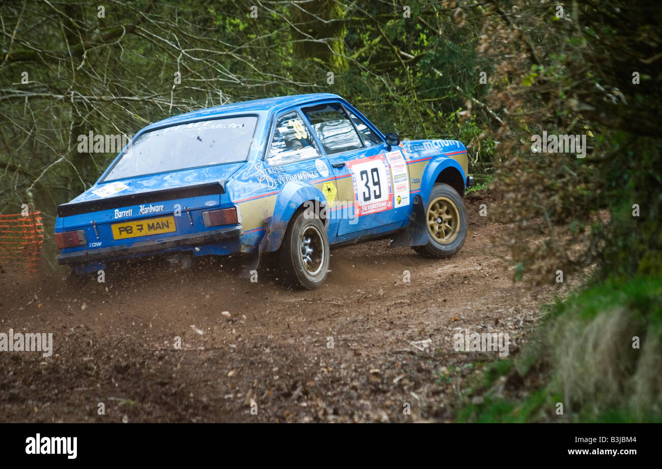 Escort MK2 rally car in blue sideways out of a Corner Stock Photo ...