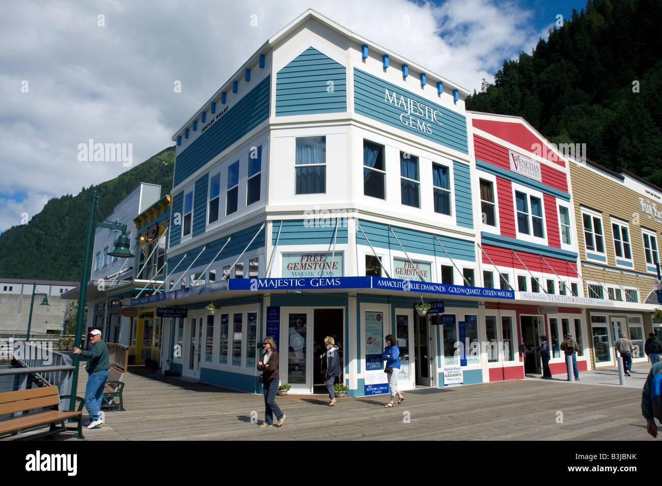 People strawling the streets of down town Juneau, The Capital of Alaska, Northern America Stock Photo