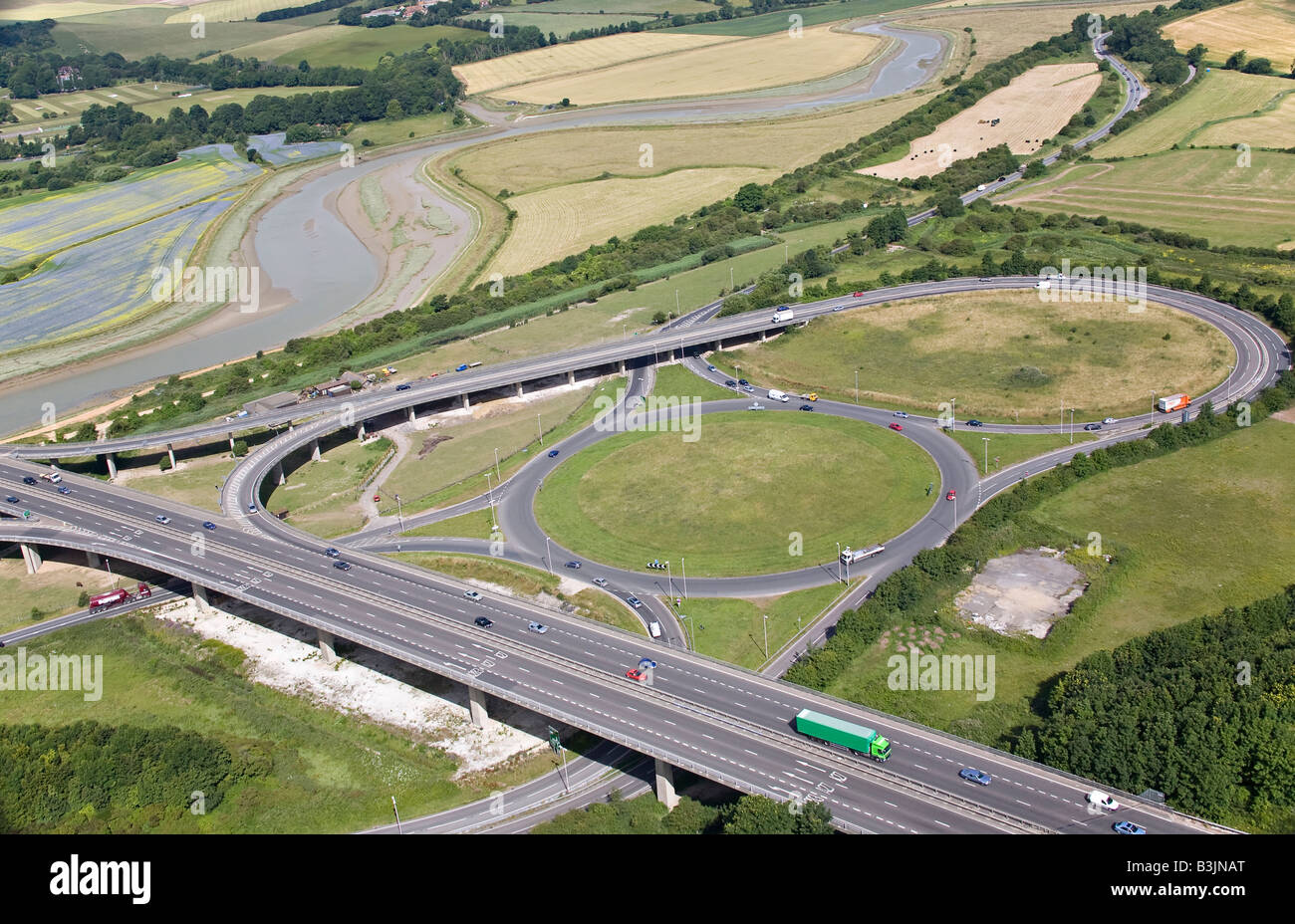 Aerial view of Shoreham flyover and the A27 trunk road Sussex England - Stock Image