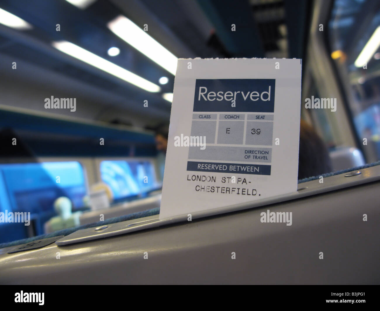 Reserved seat on train - Stock Image