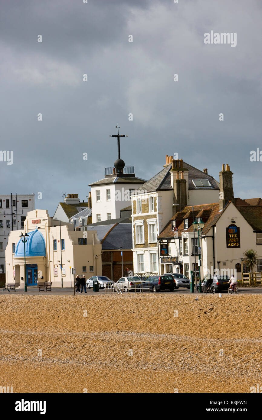 View of the seafront in Deal Kent including the famous Time Ball Tower alamyprorank bhz - Stock Image
