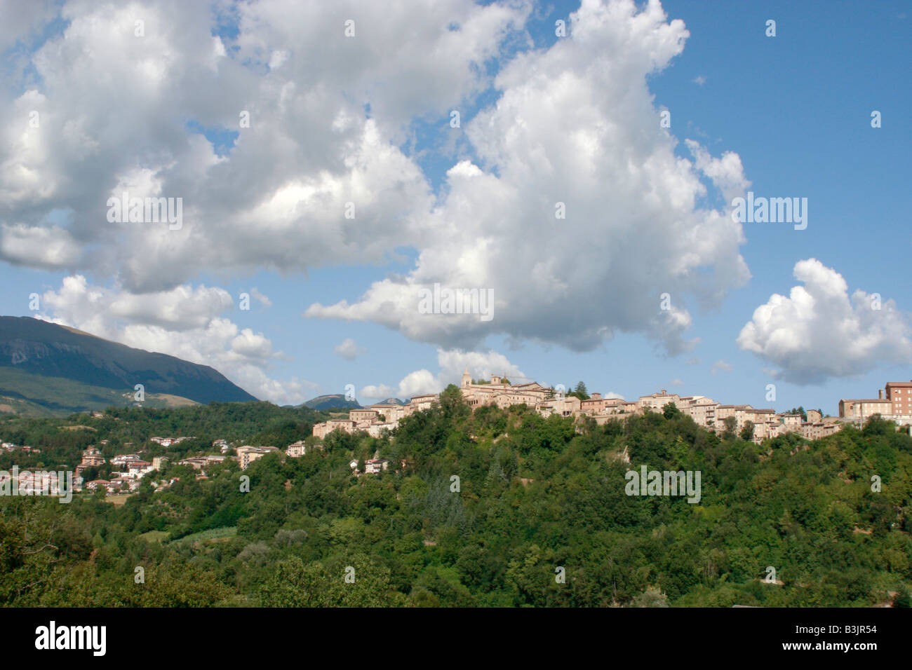 Wide skies over Amandola in  Le Marche in Italy Stock Photo