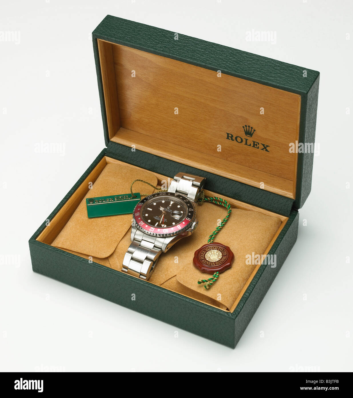 ROLEX GMT MASTER STAINLESS STEEL SWISS WATCH - Stock Image