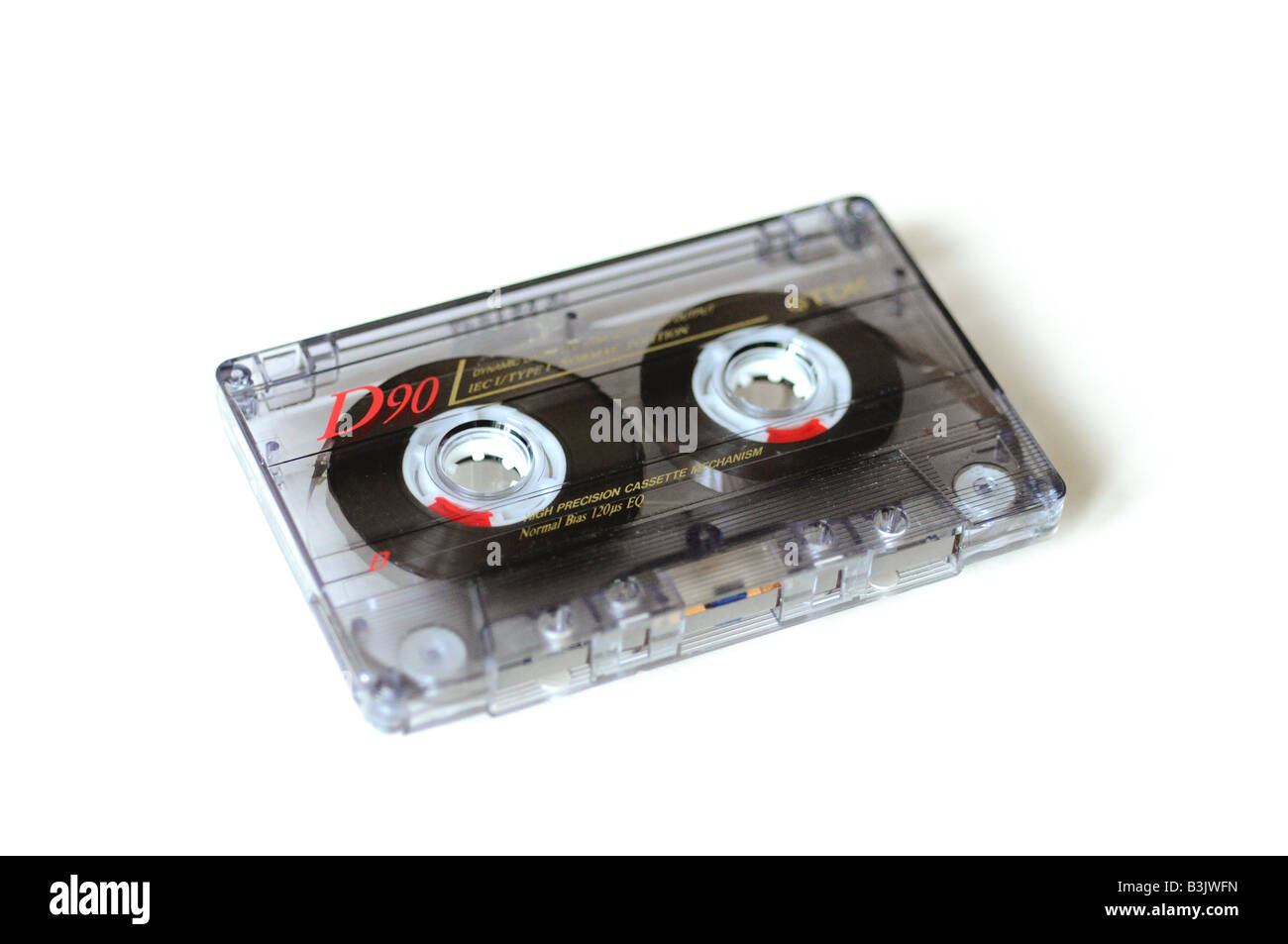 Tape cassette on a white background - Stock Image