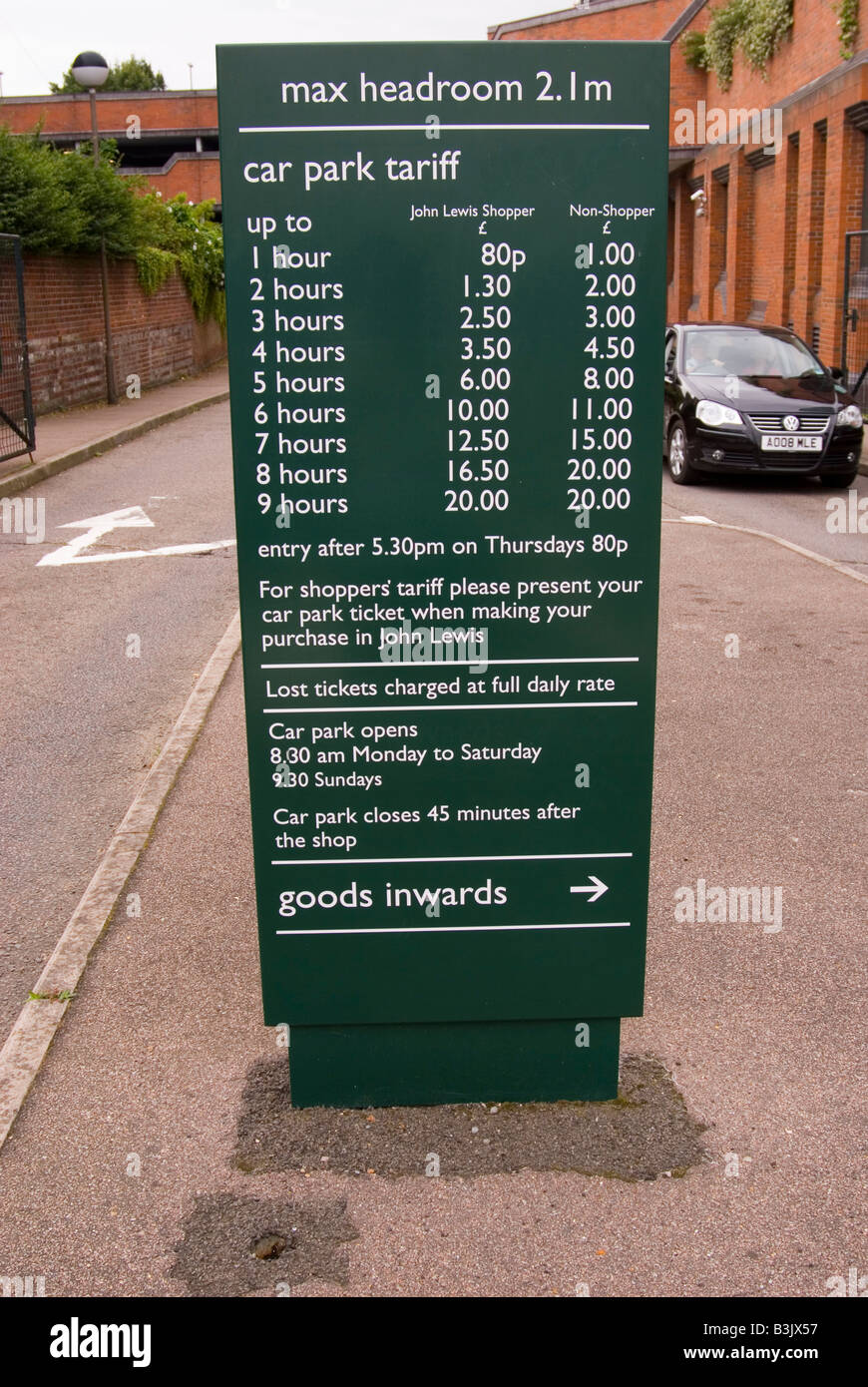 Sign to state car parking tariffs at John Lewis in Norwich,Norfolk,uk - Stock Image