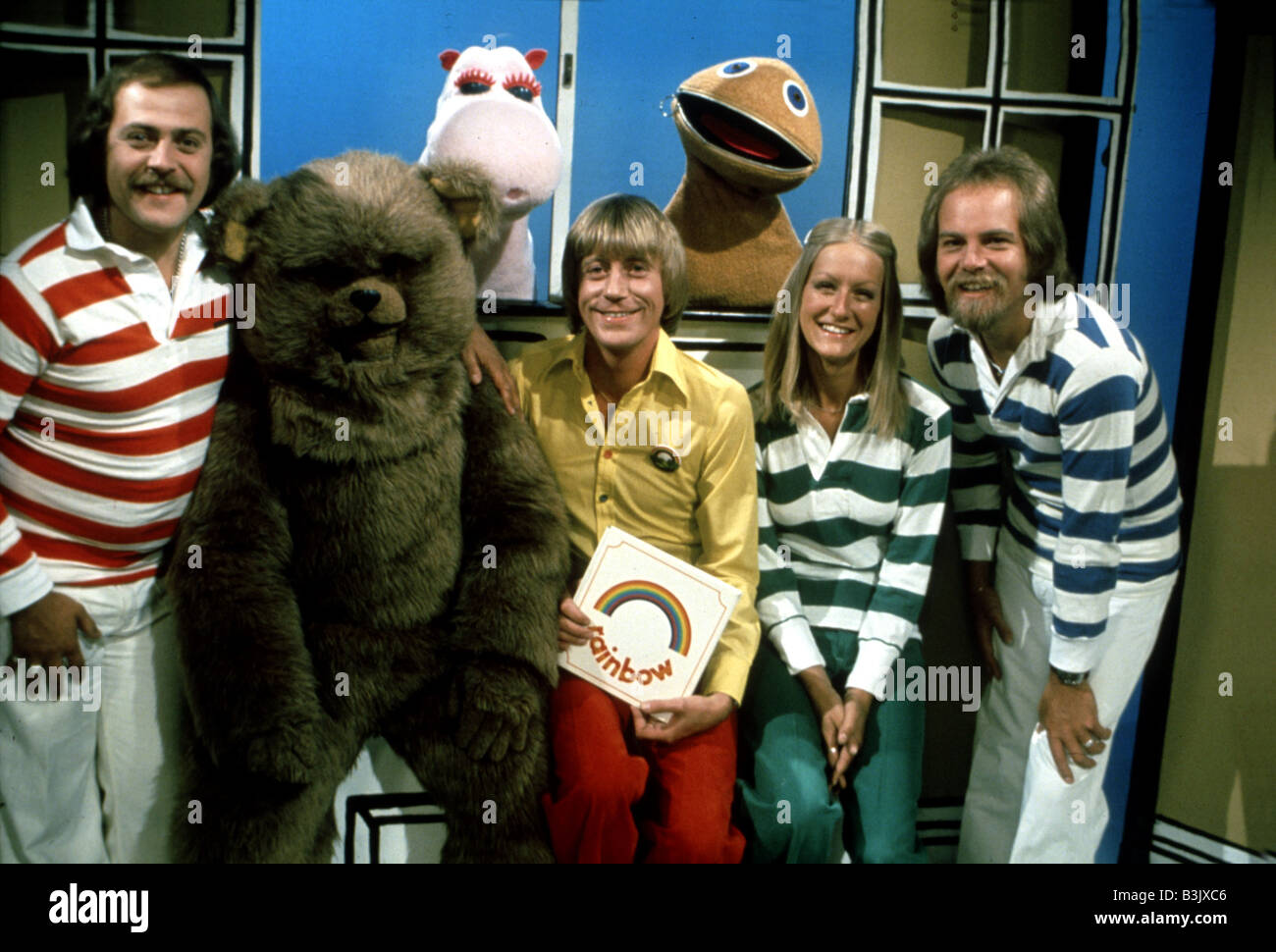 RAINBOW  1970s UK TV chiuldrens show with from l: Freddy, Bungle, George, Geoffrey, Zippy, Jane and Rod Stock Photo