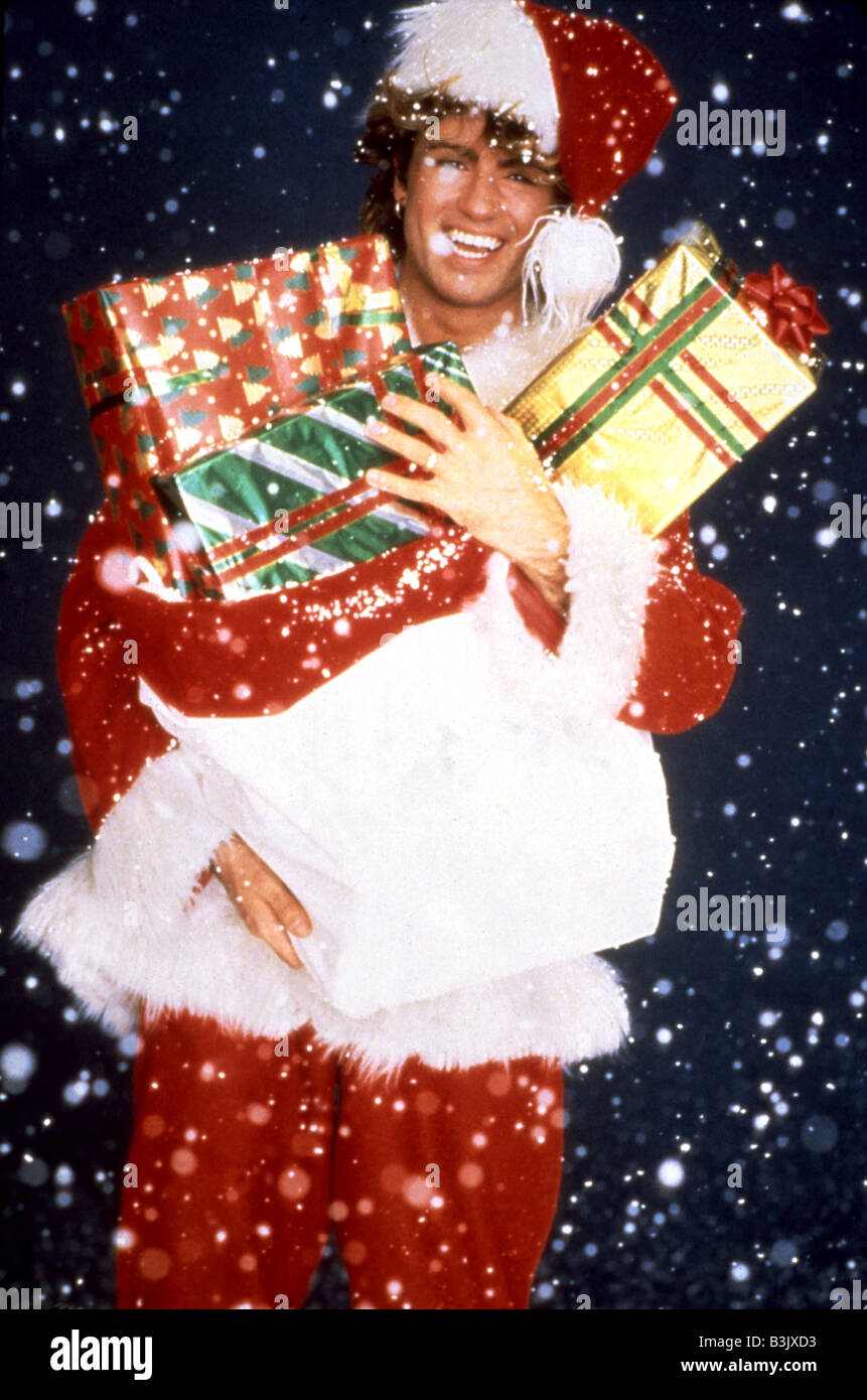 wham promotional photo of george michael for their their 1984 single white christmas - Wham Christmas