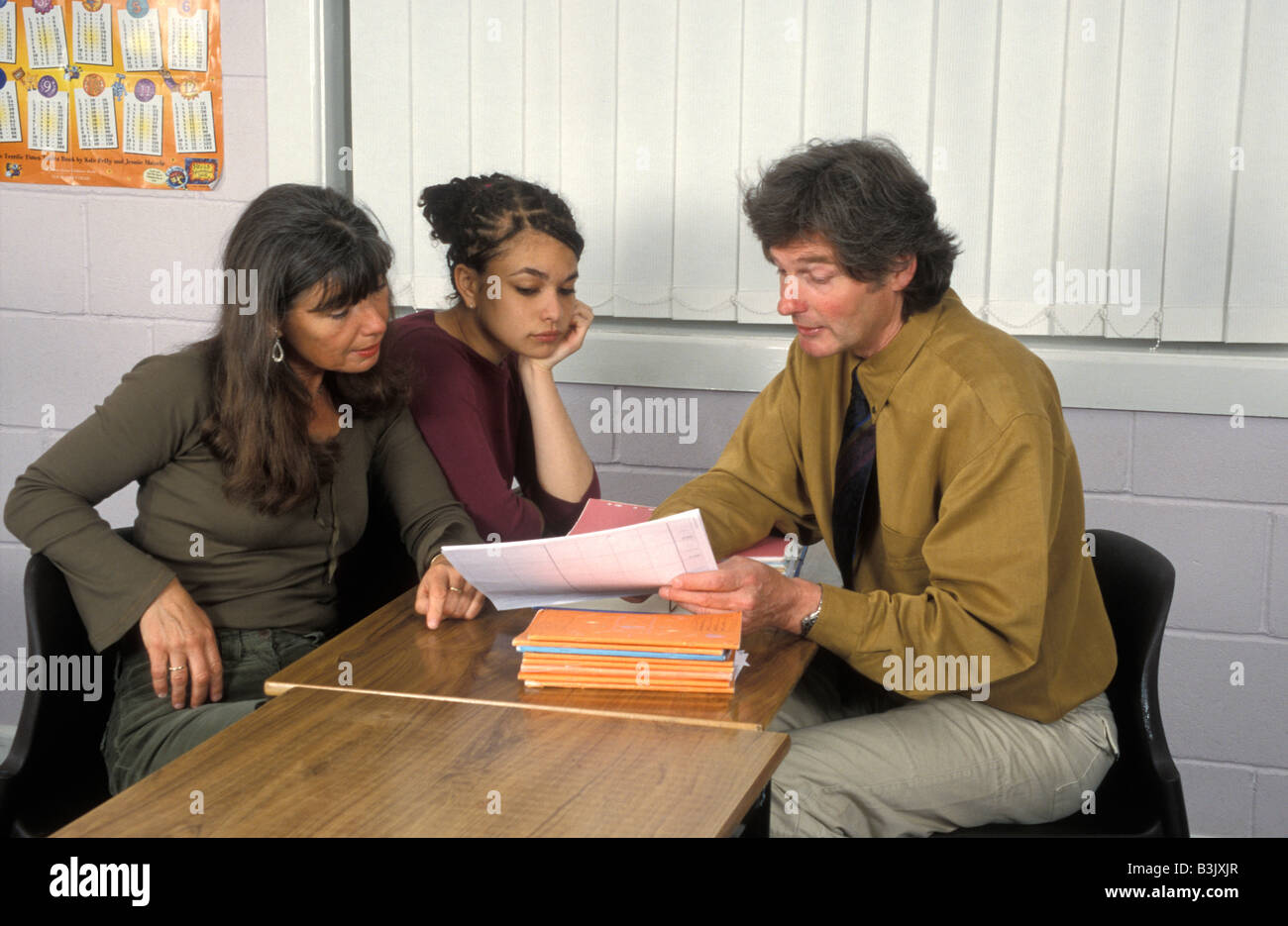 mother & daughter in consultation with teacher - Stock Image