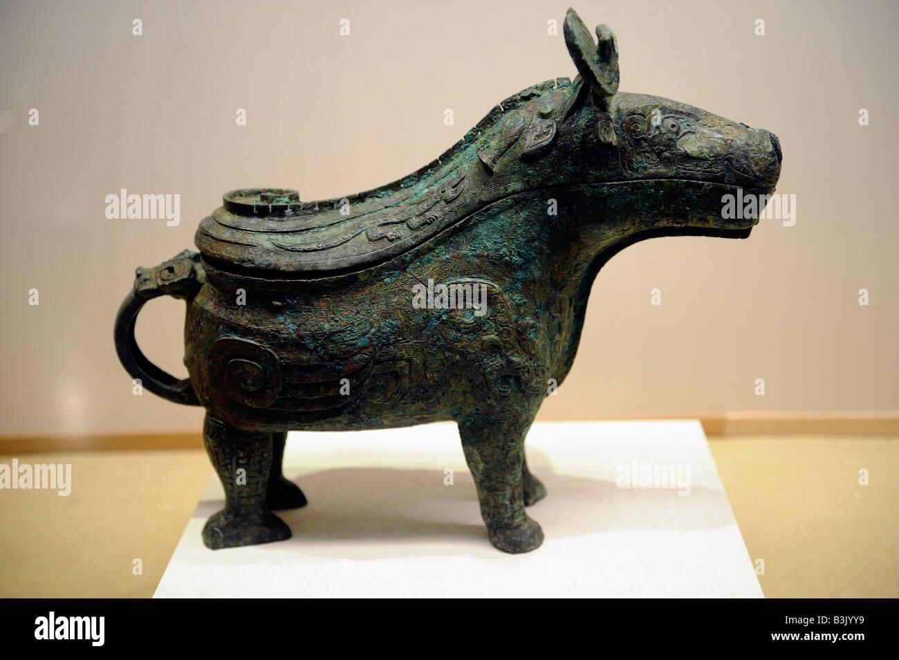 Bronze four legged 'Si Mu Xin' wine vessel.  05-Sep-2008 - Stock Image