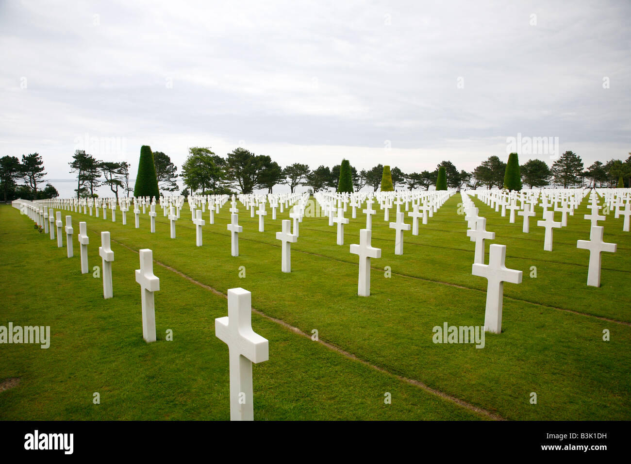 July 2008 - The American Military Cemetery in Colleville sur mer Normandy France - Stock Image