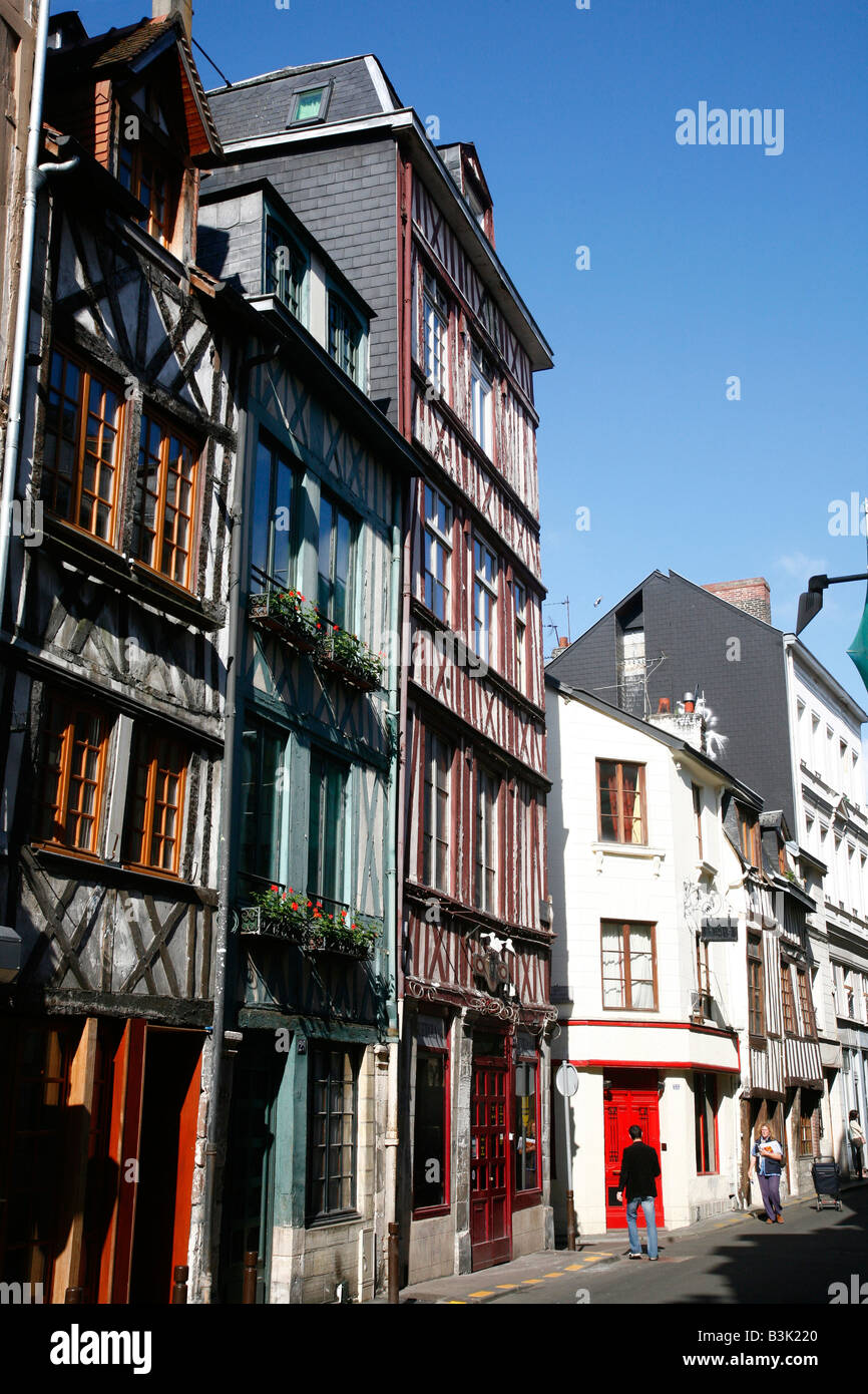 July 2008 - Half timbered houses in Rouen Normandy France - Stock Image