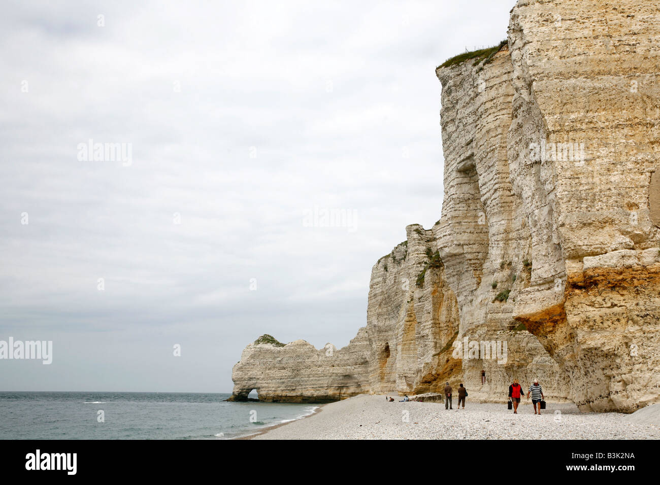 July 2008 - The beach at Etretat with its cliffs also known as Falaises Normandy France - Stock Image