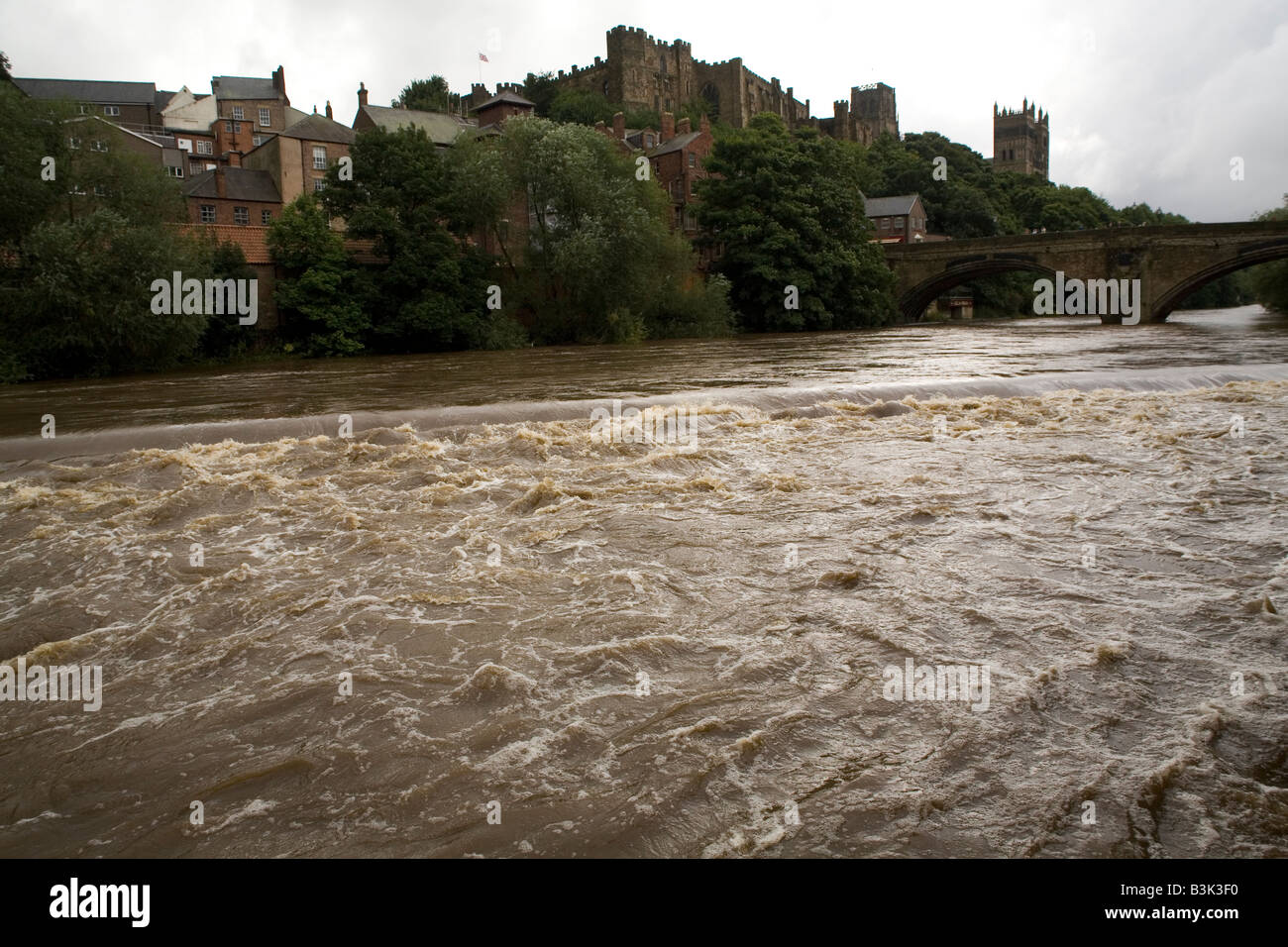 White Water On The River Wear In Durham City England Stock Photo