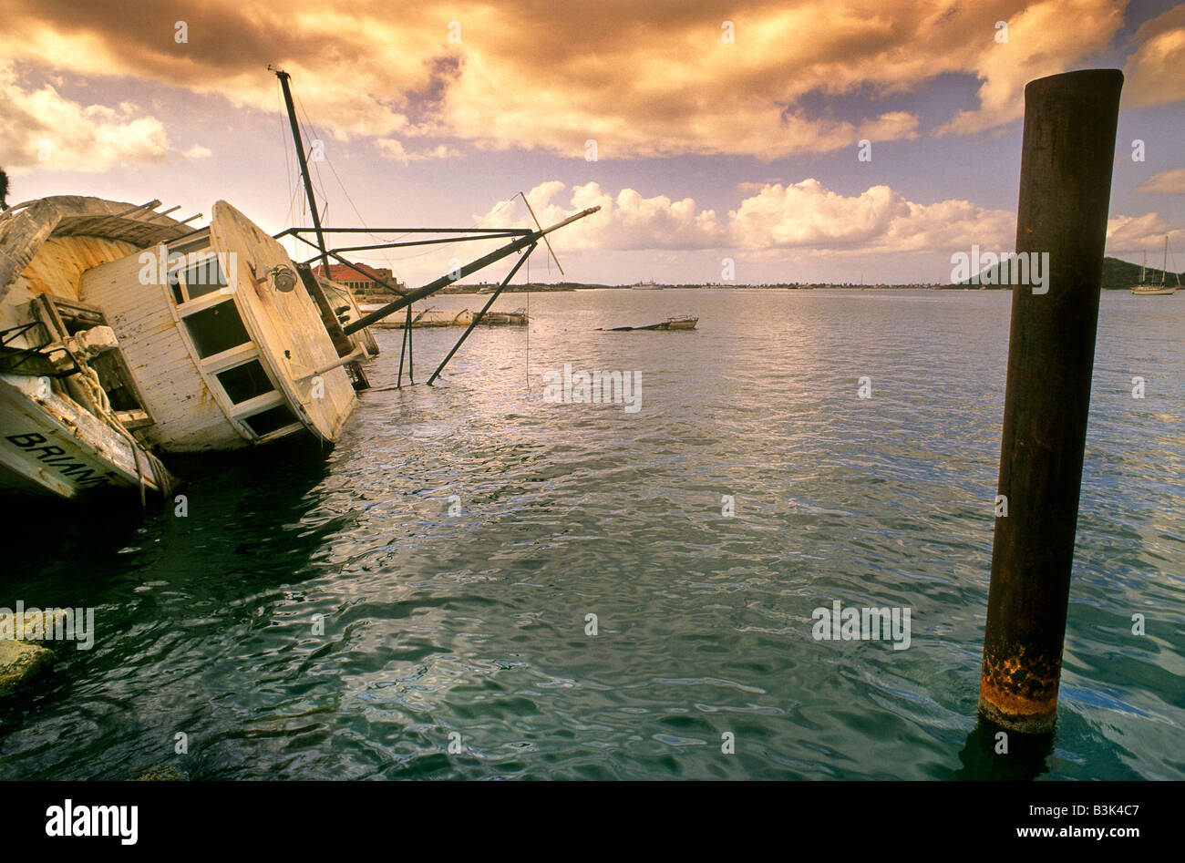 Shipwrecks after a hurricane in the Caribbean - Stock Image